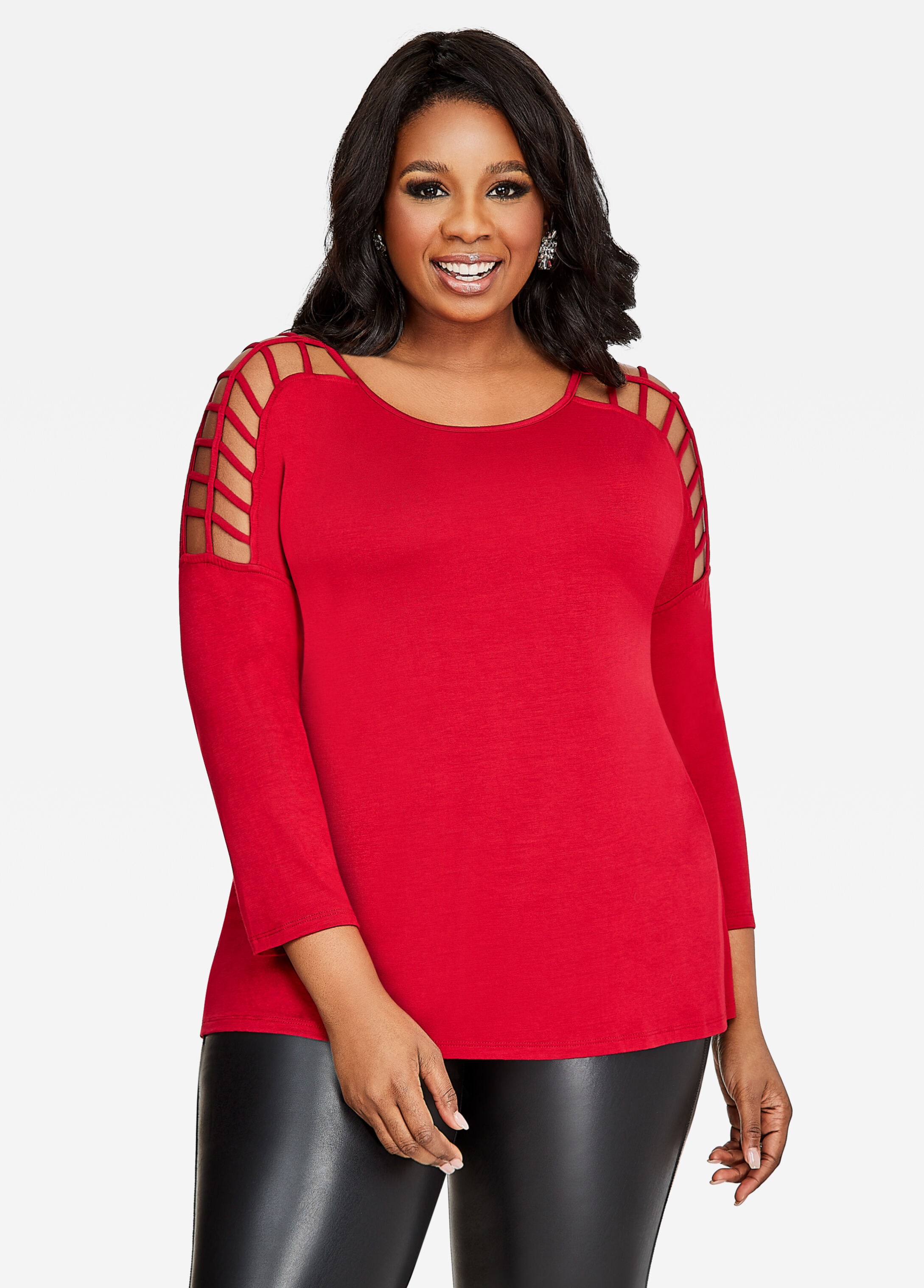 Long Sleeve Caged Shoulder Top Scooter Red - Tops