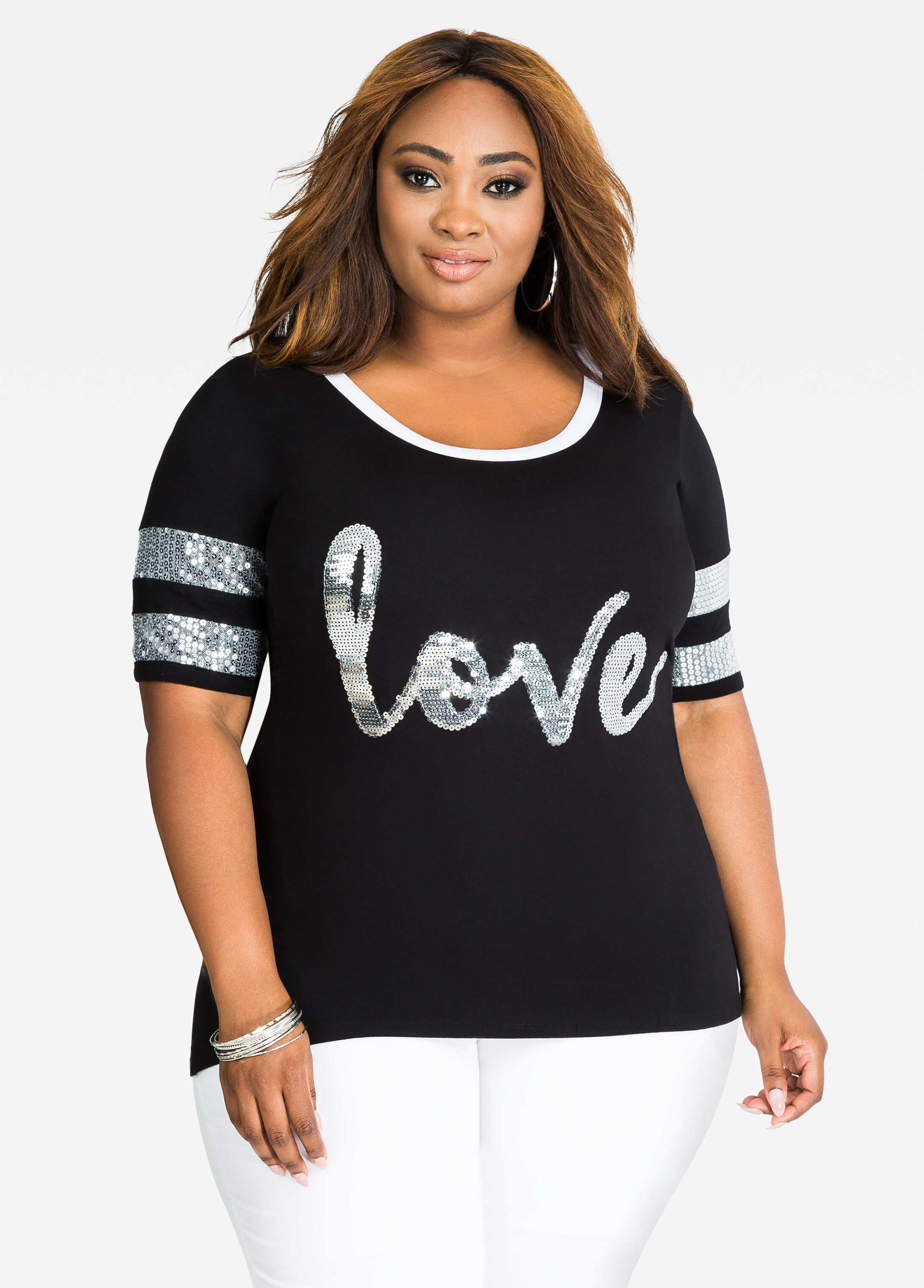 Sequin Accent Love Baseball Tee