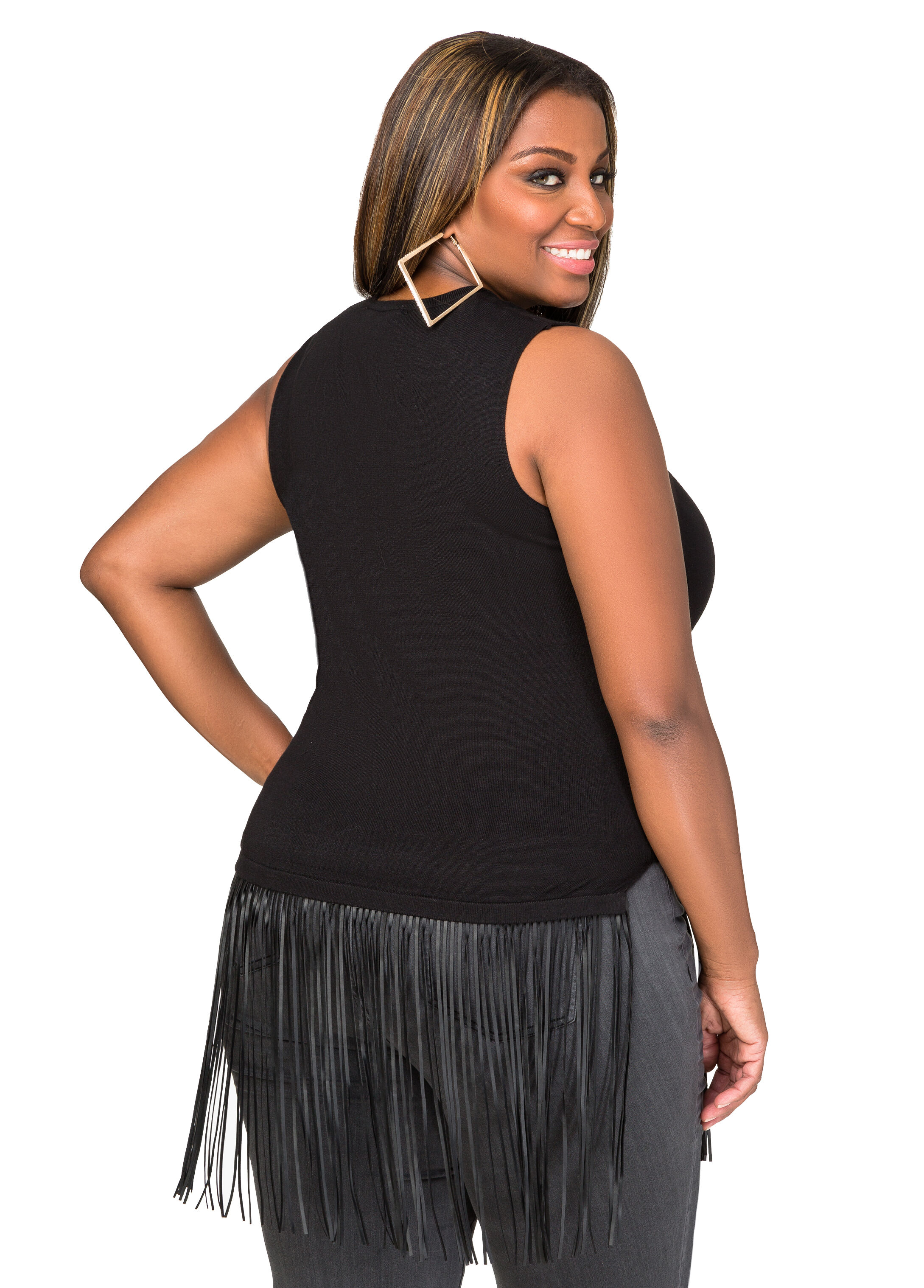 Faux Leather Fringe Sleeveless Sweater