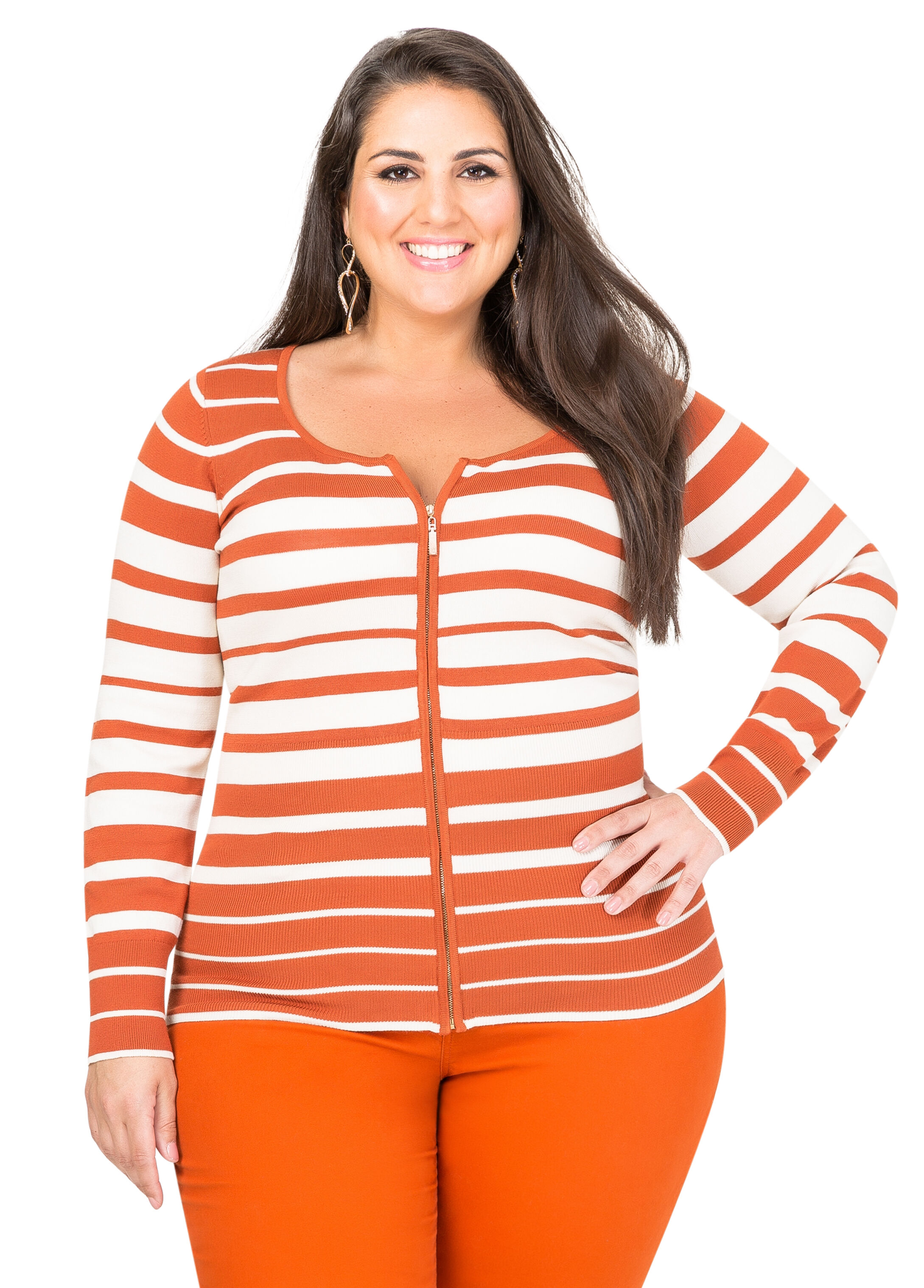 Striped Basic Zip Cardigan