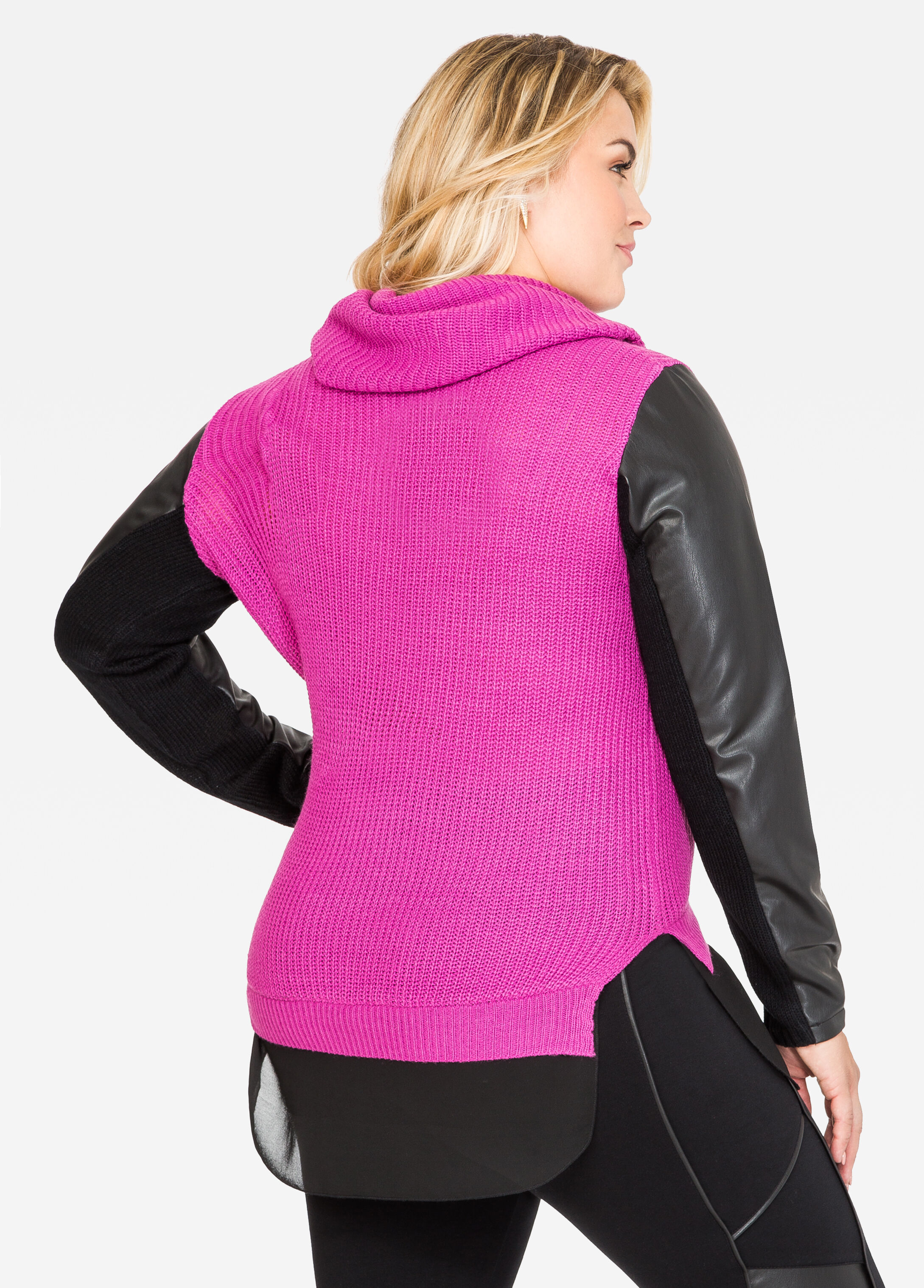 Faux Leather Cowl Neck Sweater