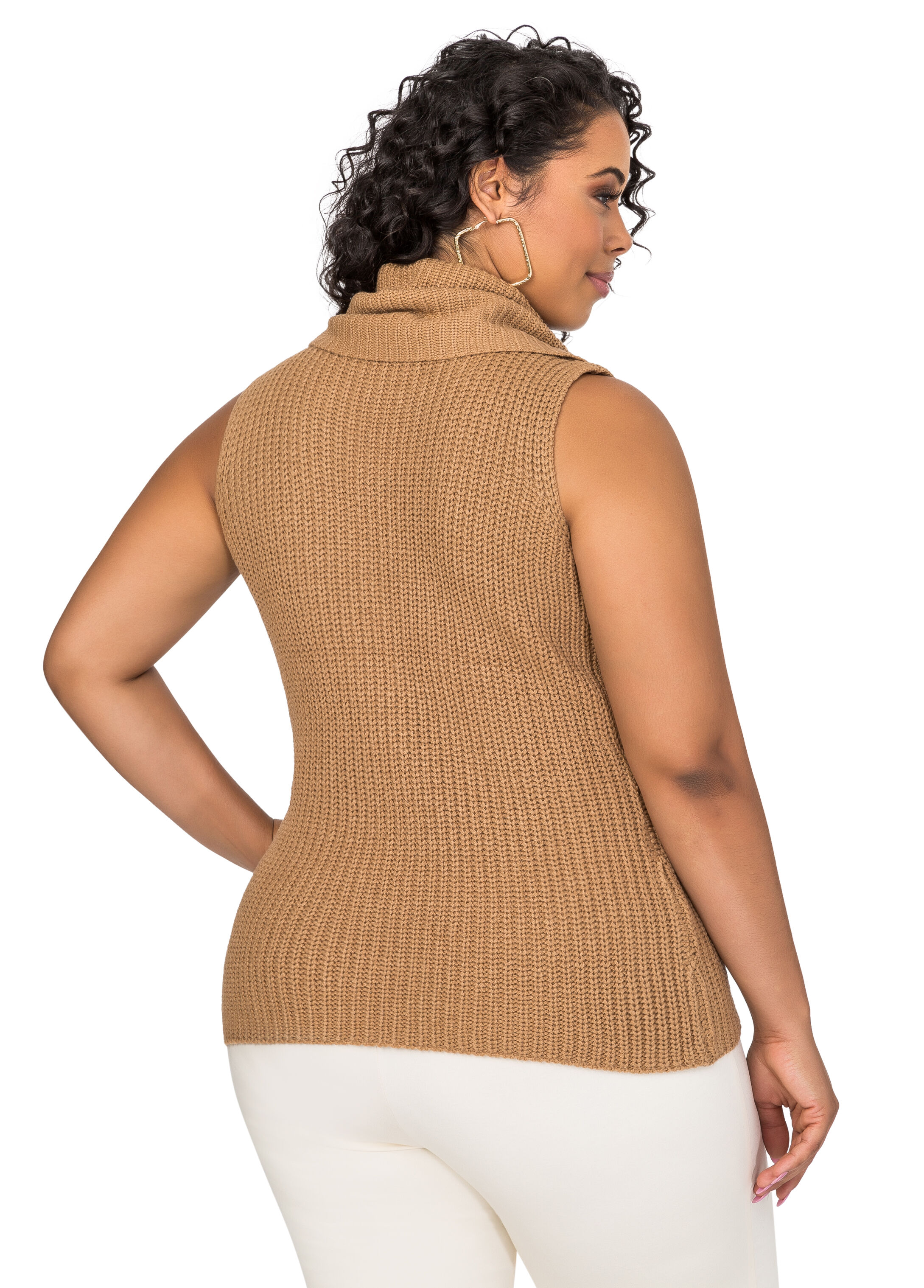 Lace-Up Side Cowl Neck Sweater