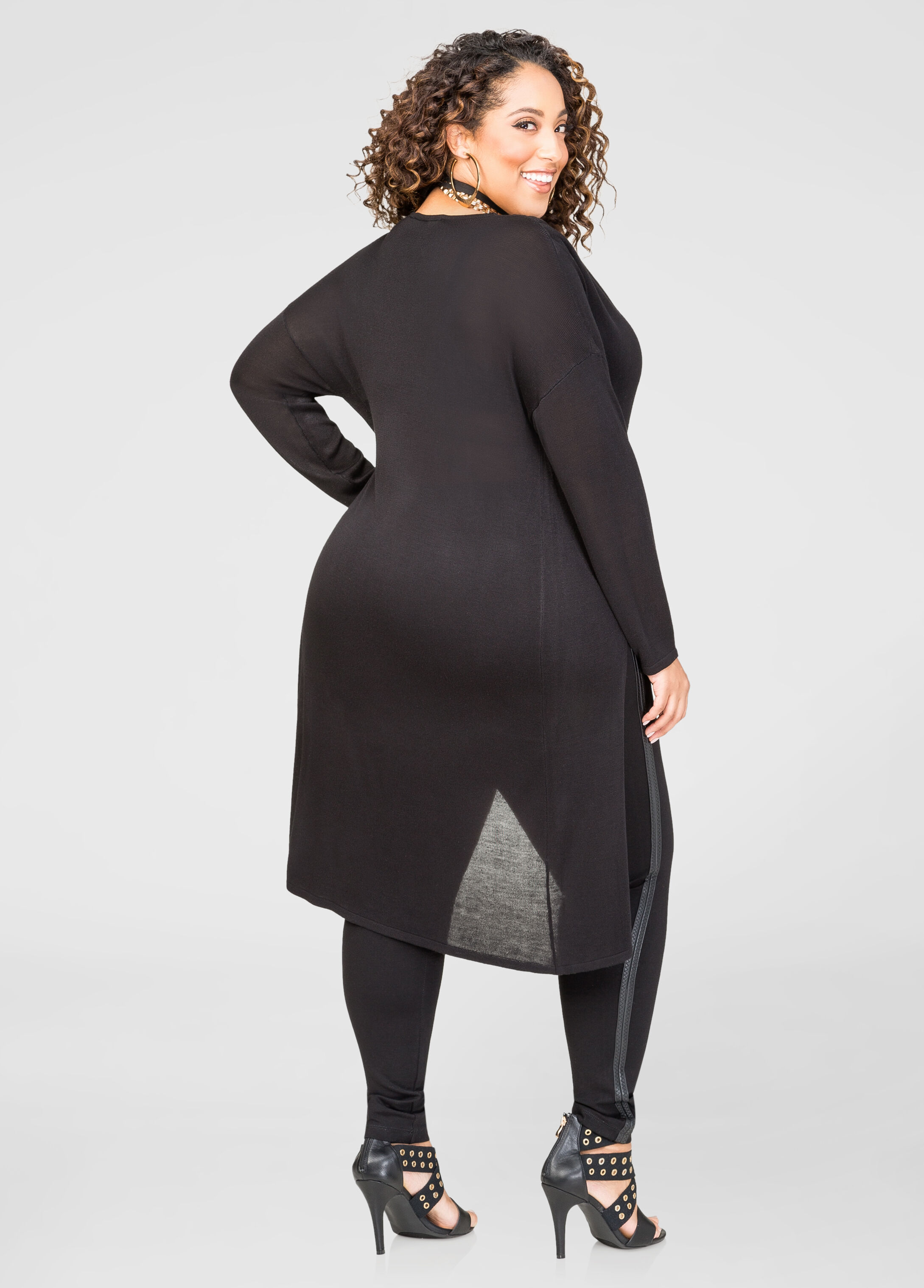 Twist Front Hi-Lo Duster Sweater