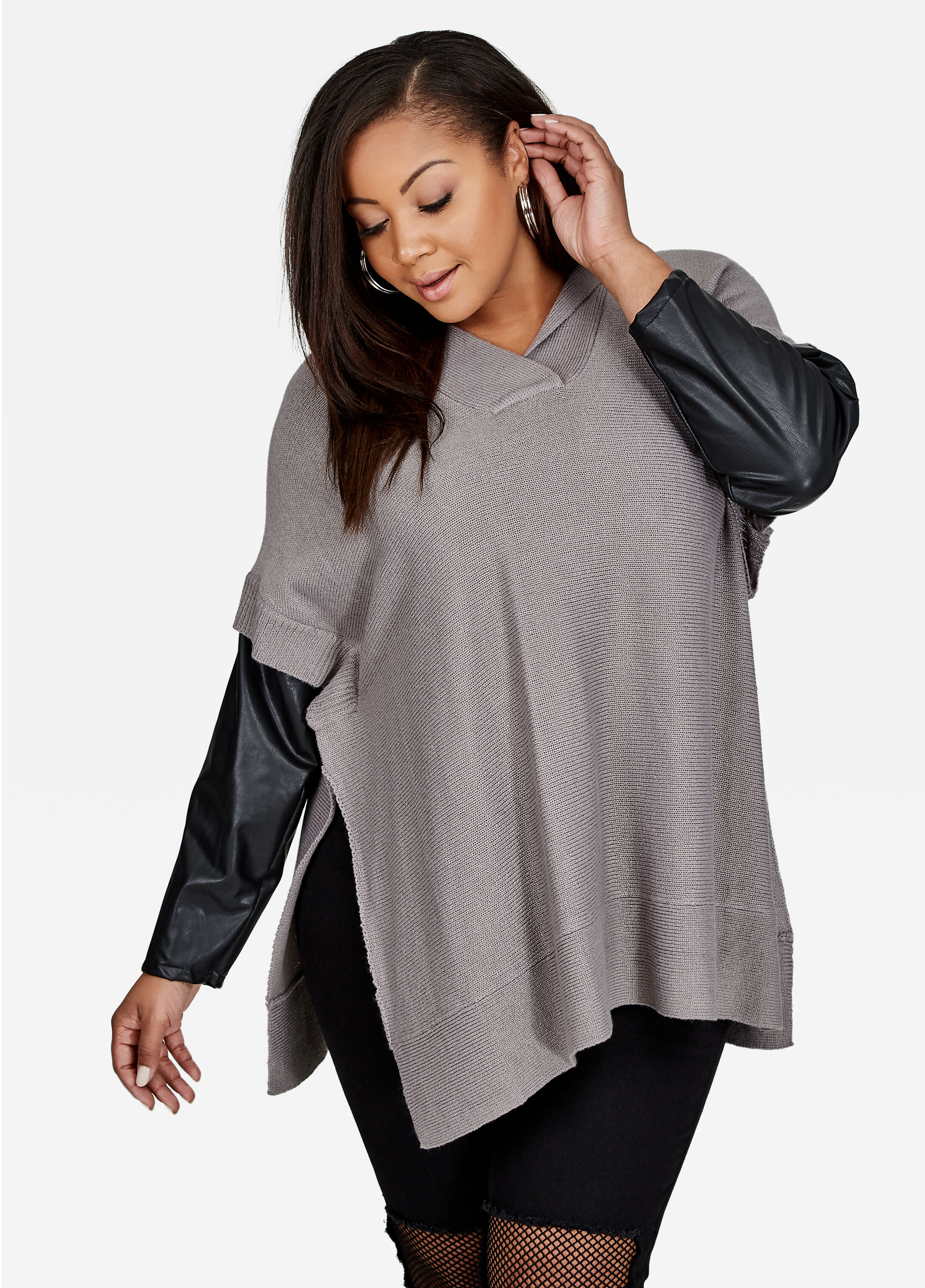 Hooded Pullover Poncho