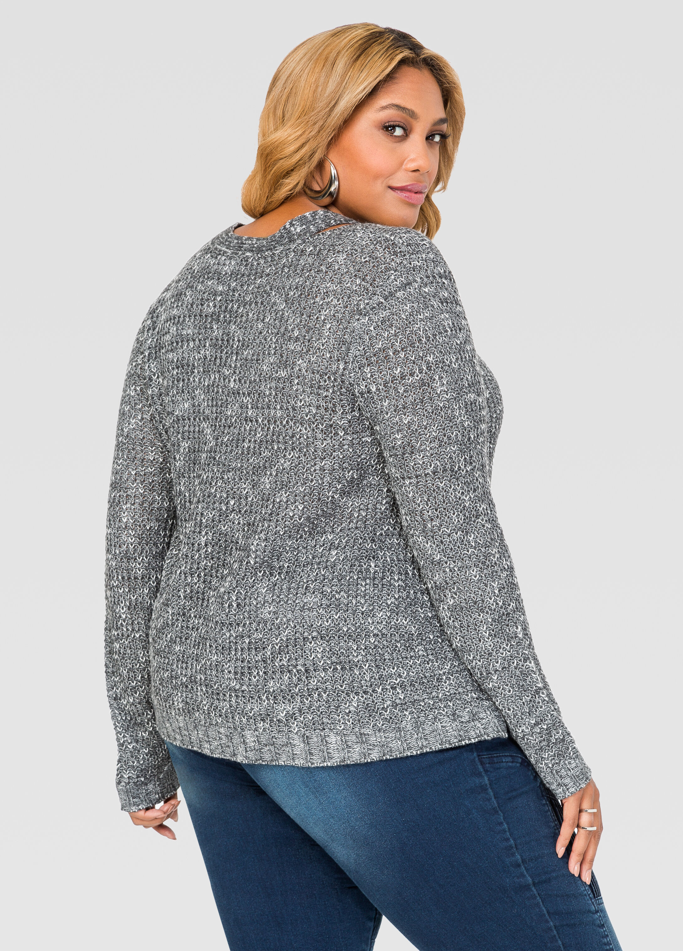 Slit Neck Marled Sweater