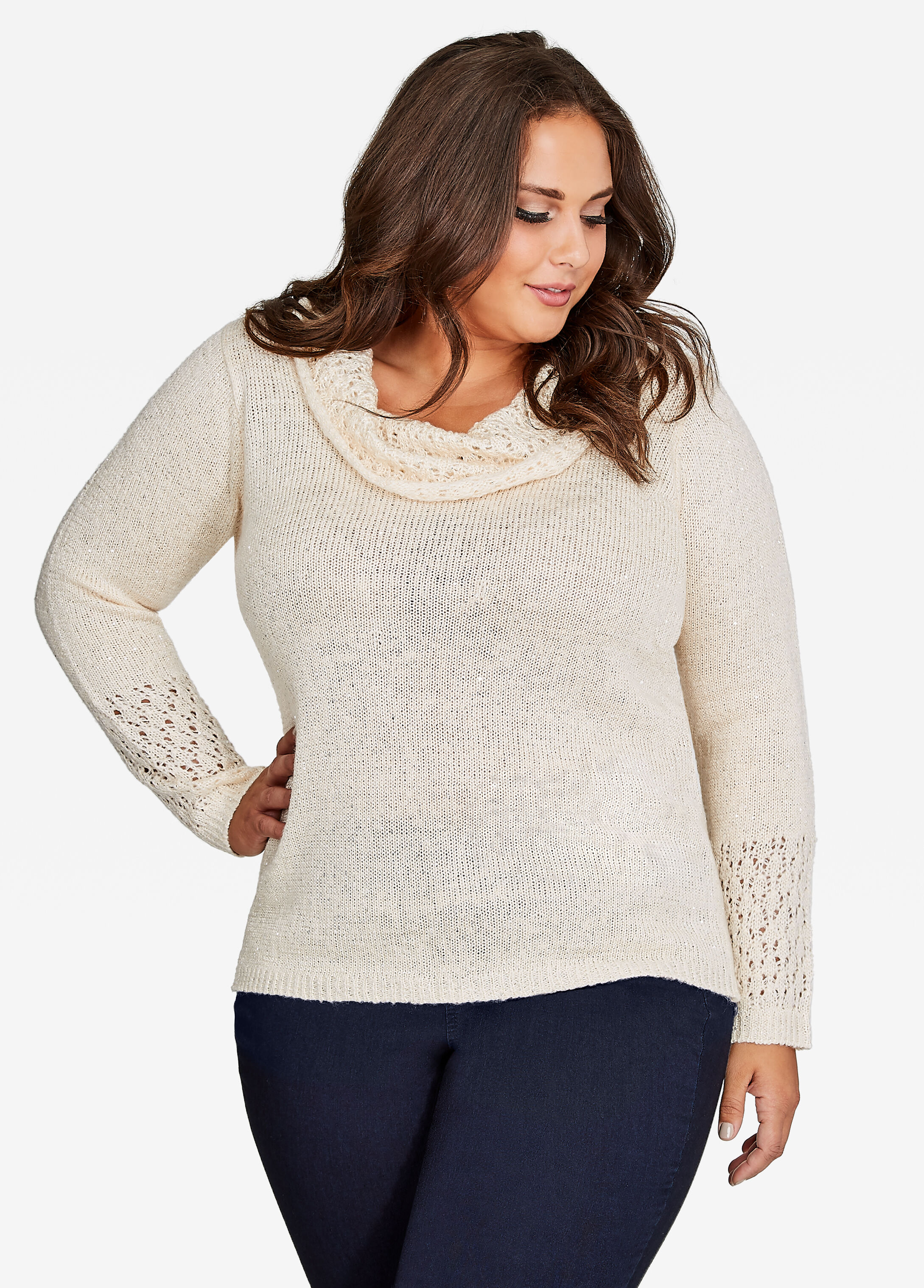 Sequin Cowl Neck Sweater