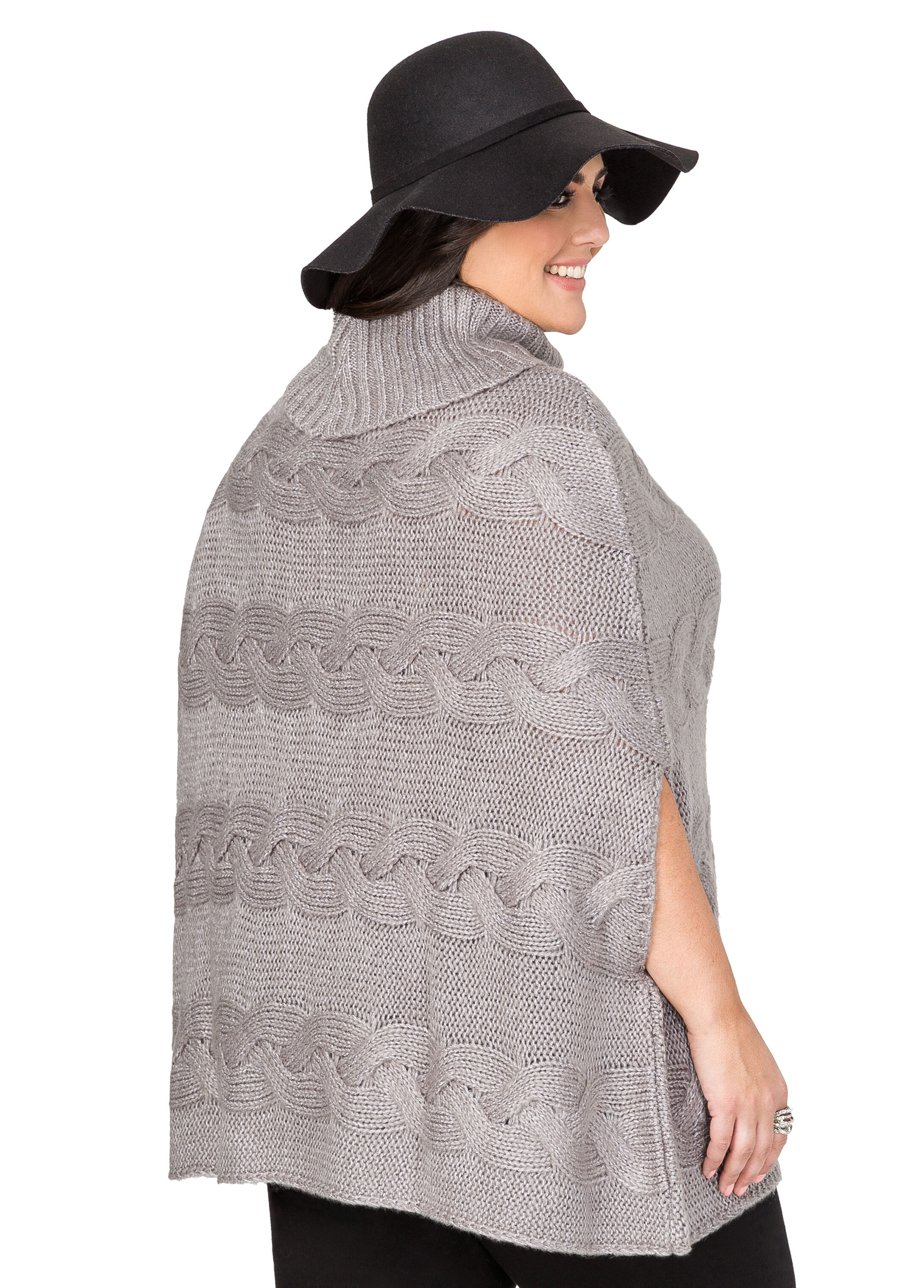 Cowl Neck Cable Poncho Sweater