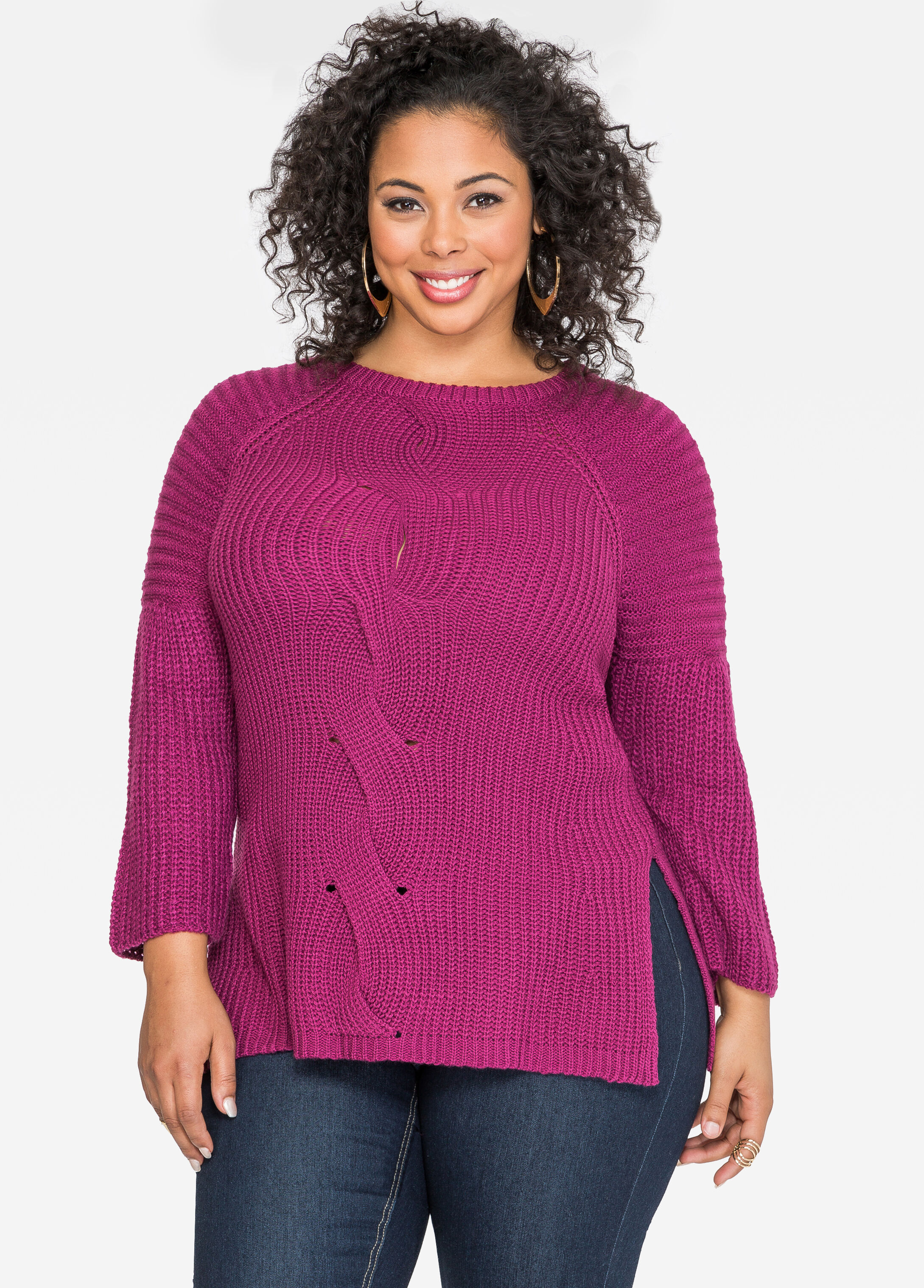 Cable Front Pullover Sweater