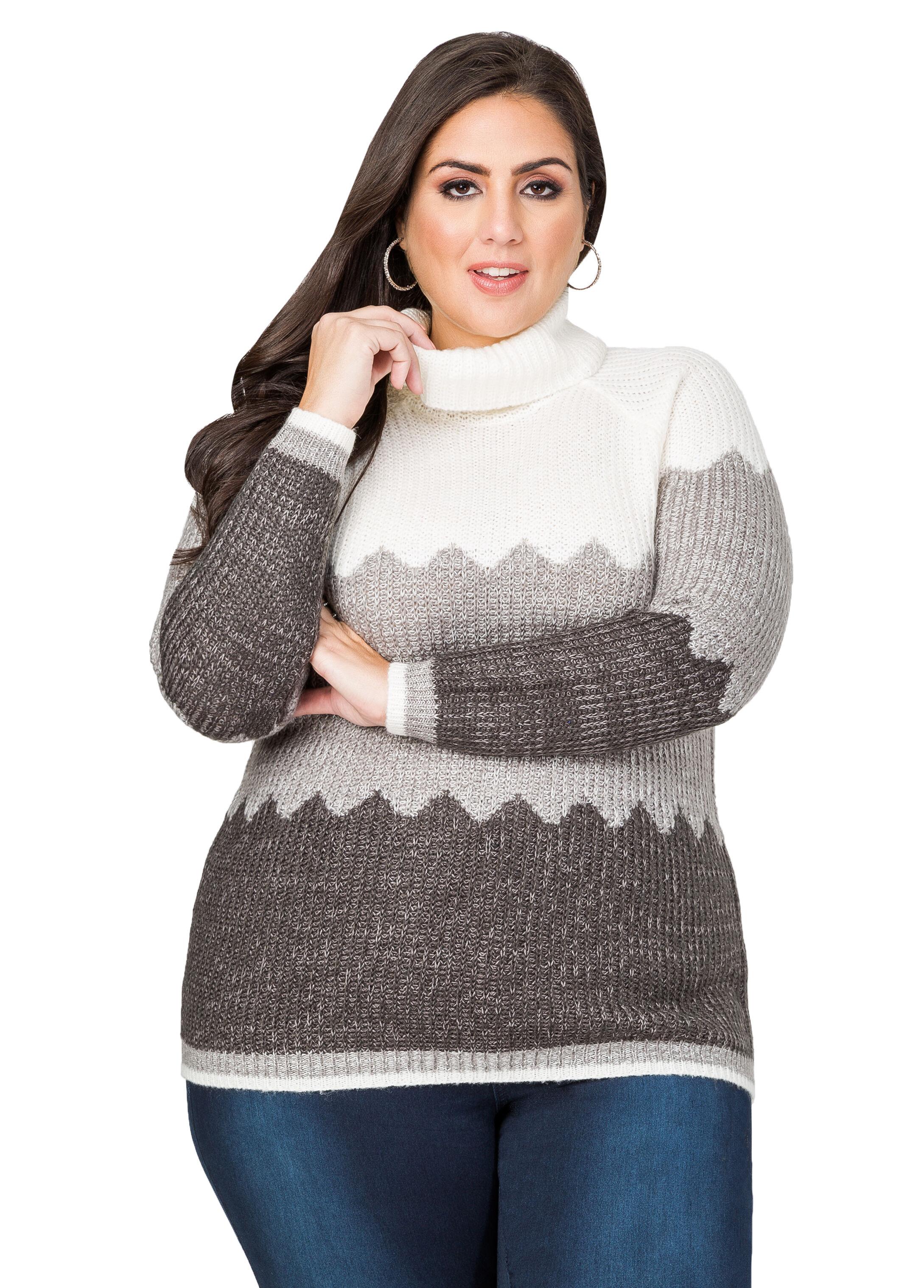 Chevron Cowl Neck Sweater