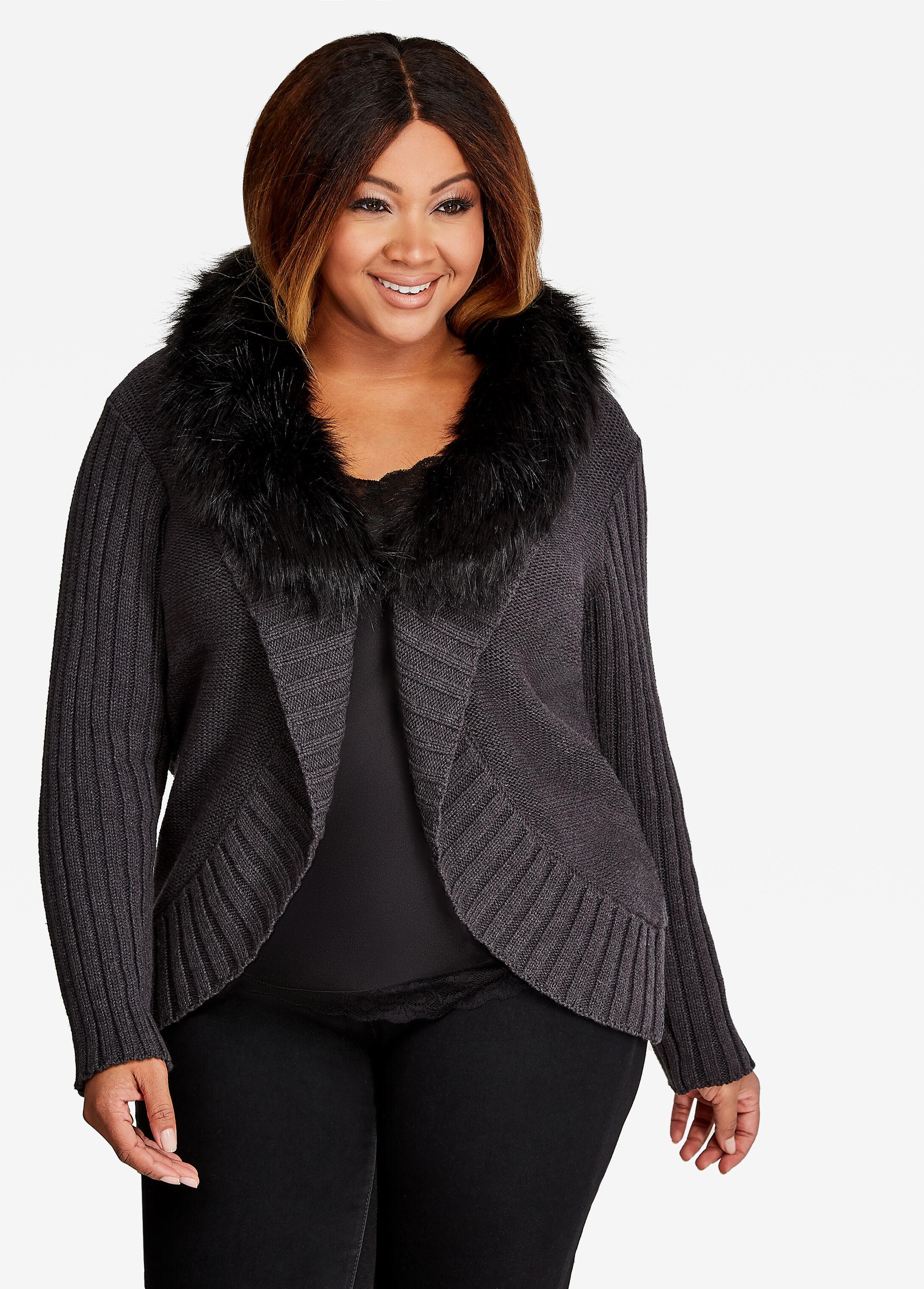 Dolman Knit With Removable Faux Fur