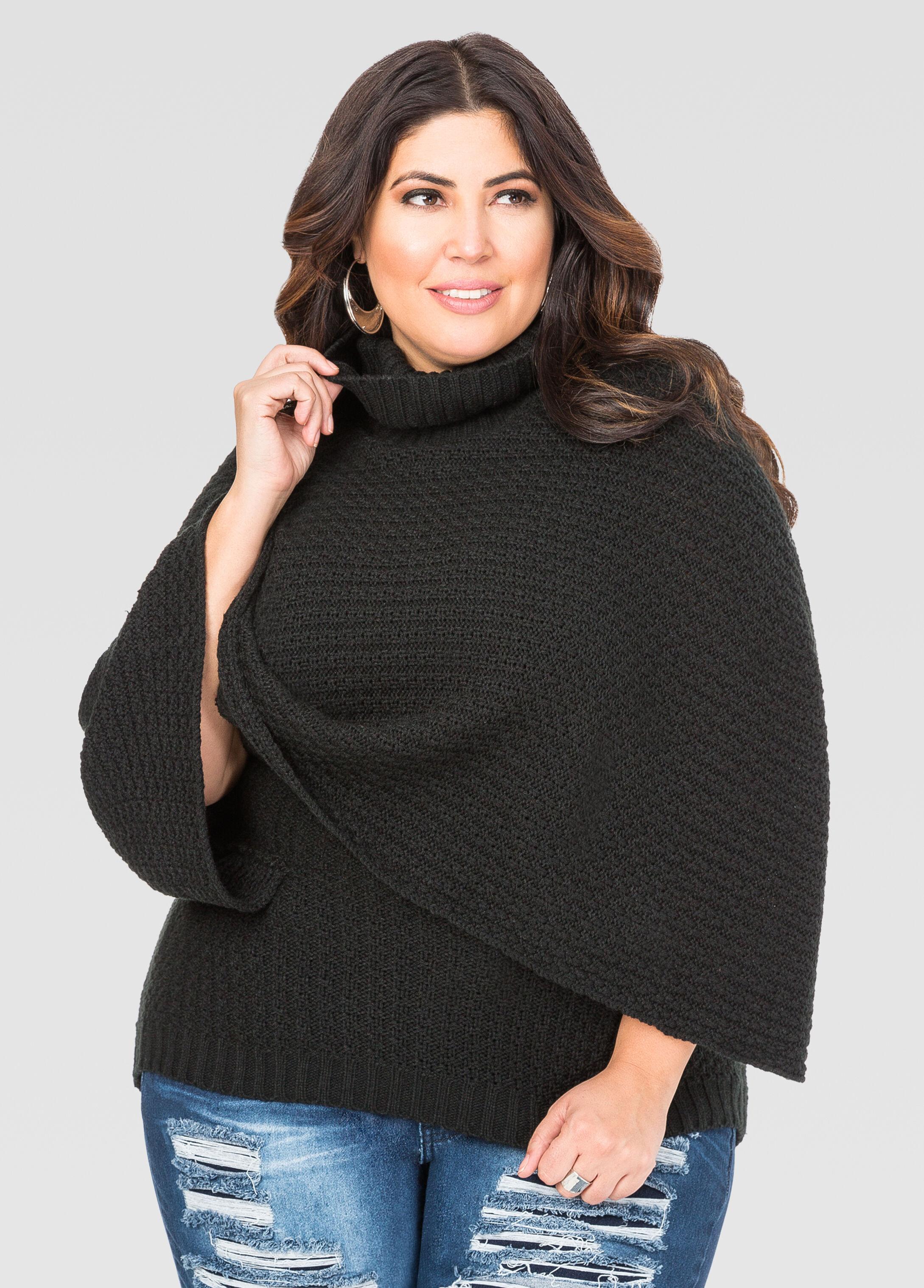 Cowl Neck Poncho Sweater