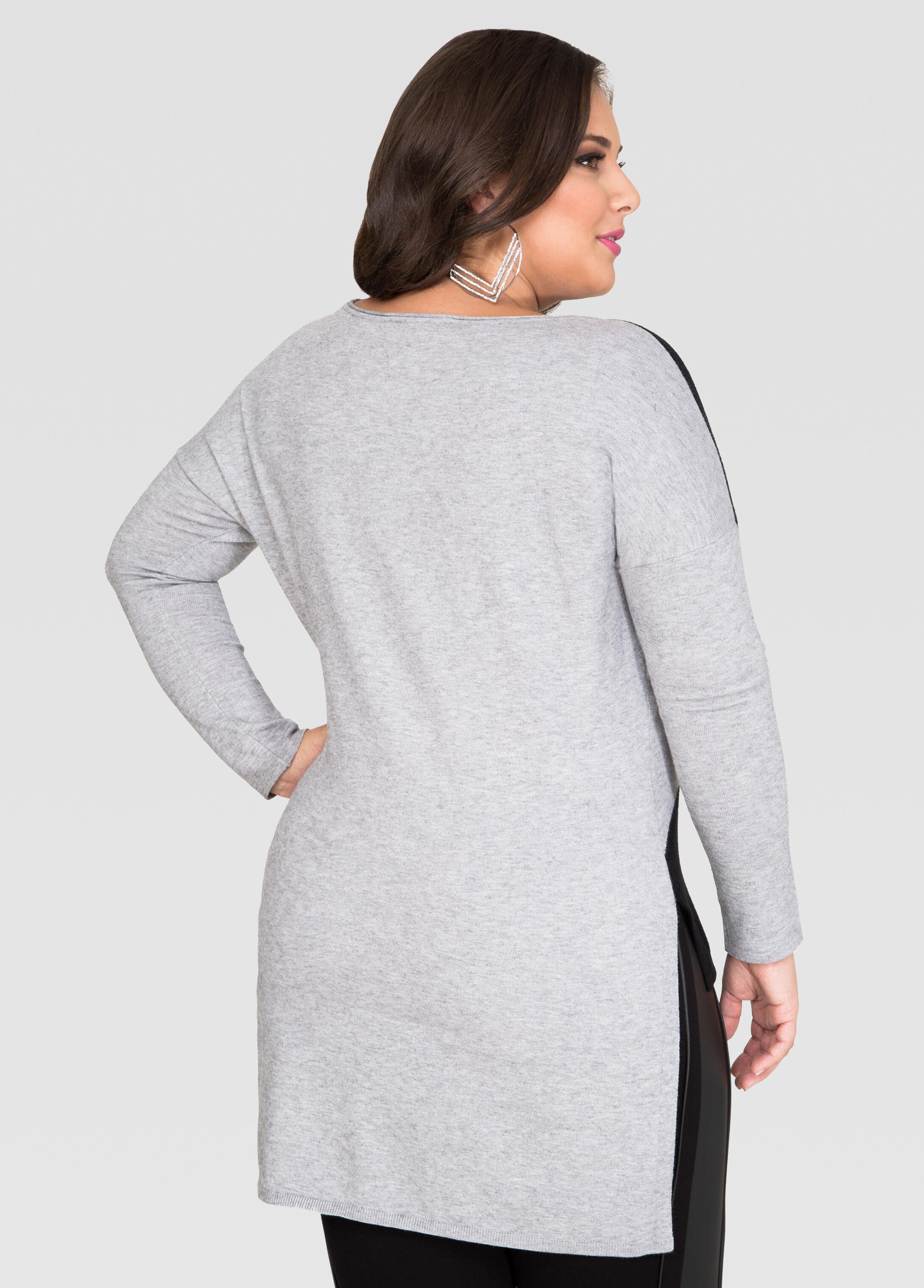 Colorblock Hi-Lo Sweater