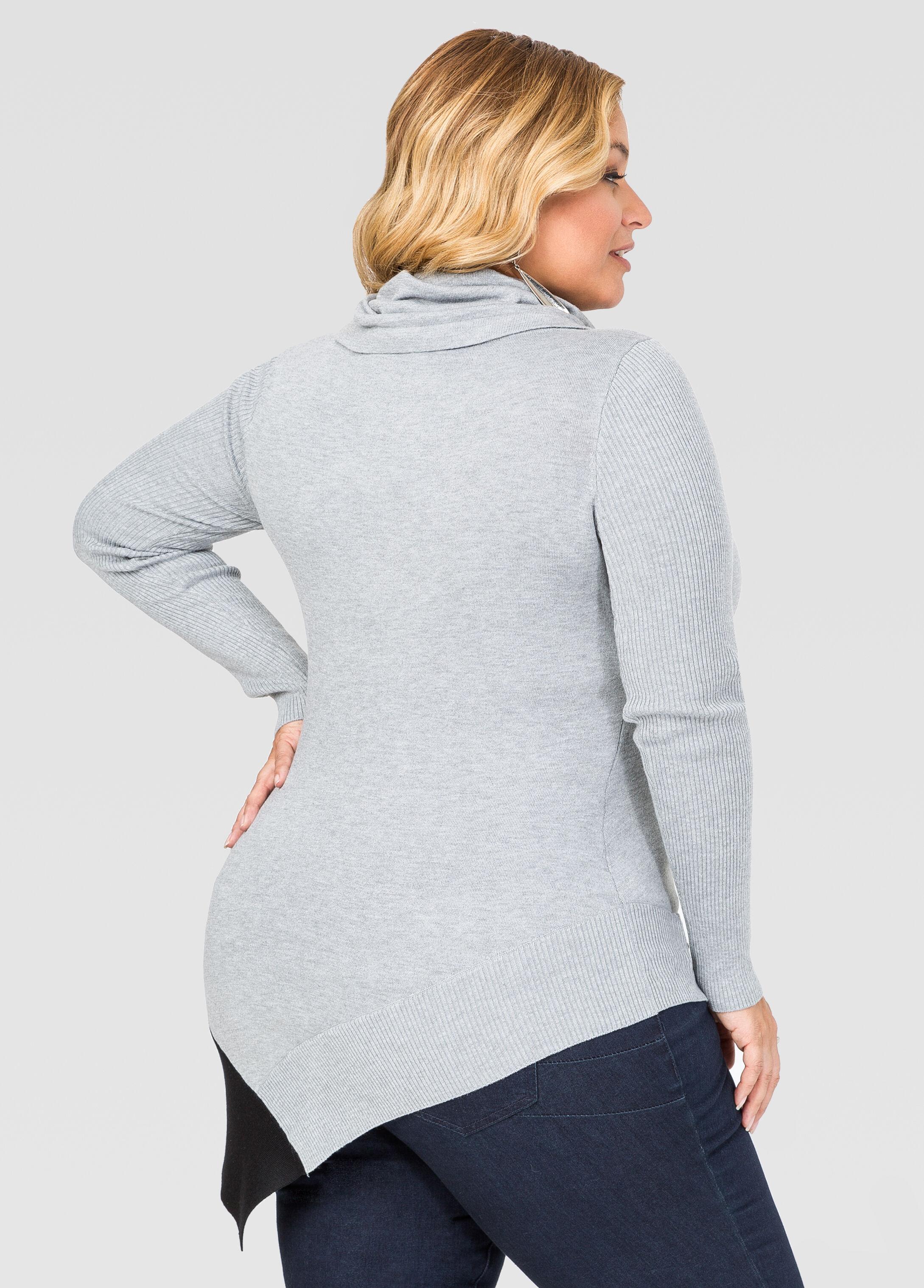 Asymmetrical Cowl Neck Sweater