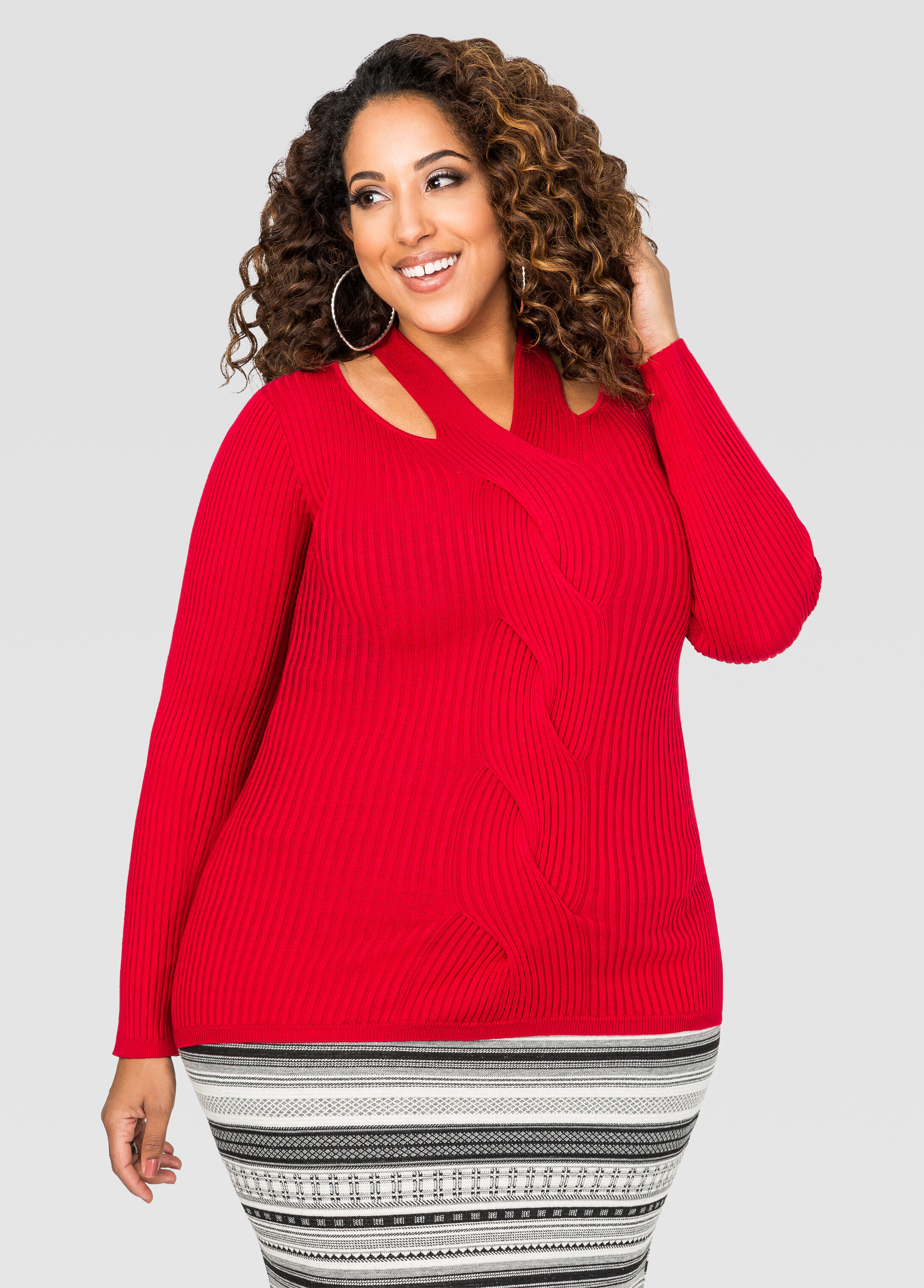 Cable Twist Cut-Out Sweater
