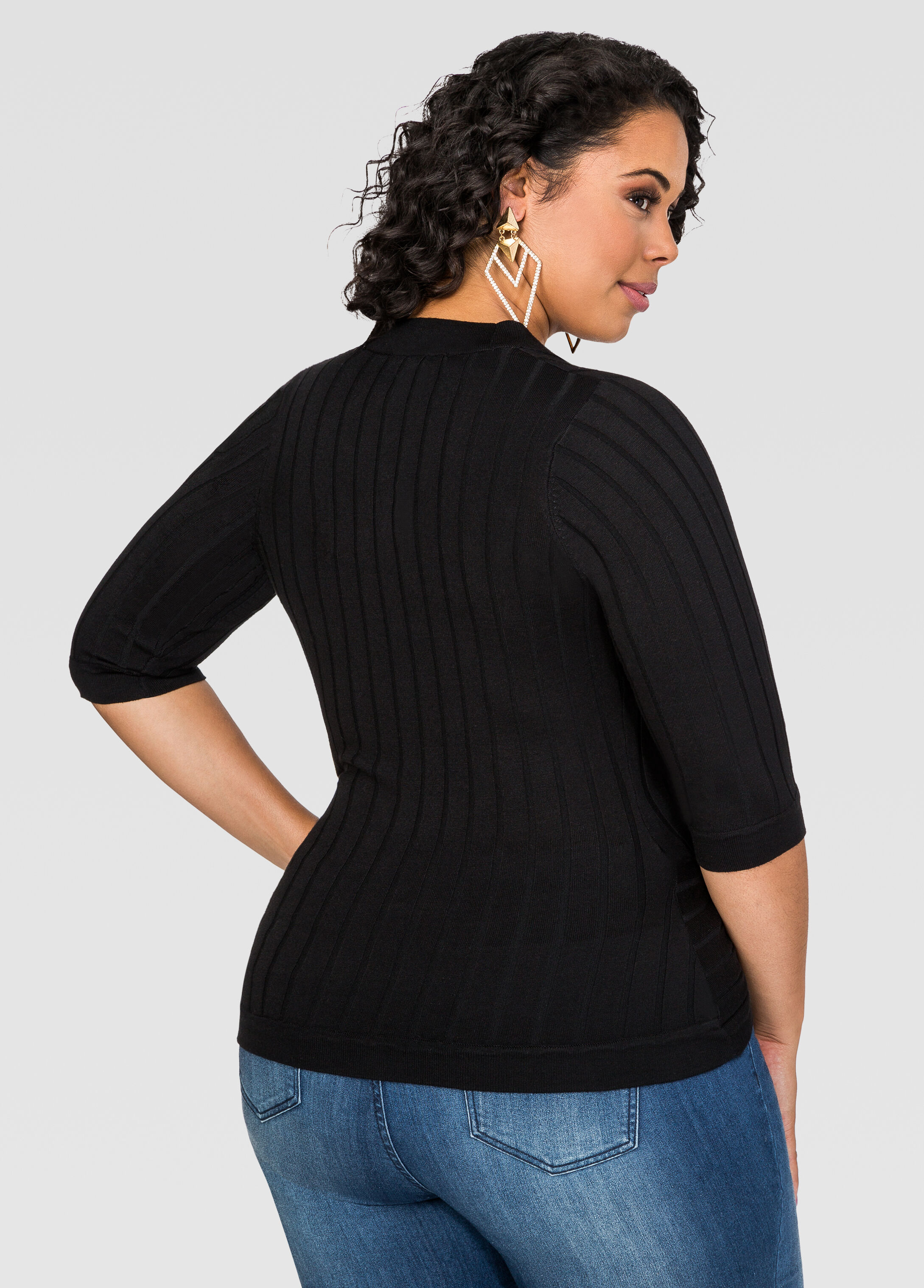 Ribbed Knit Surplice Sweater Top