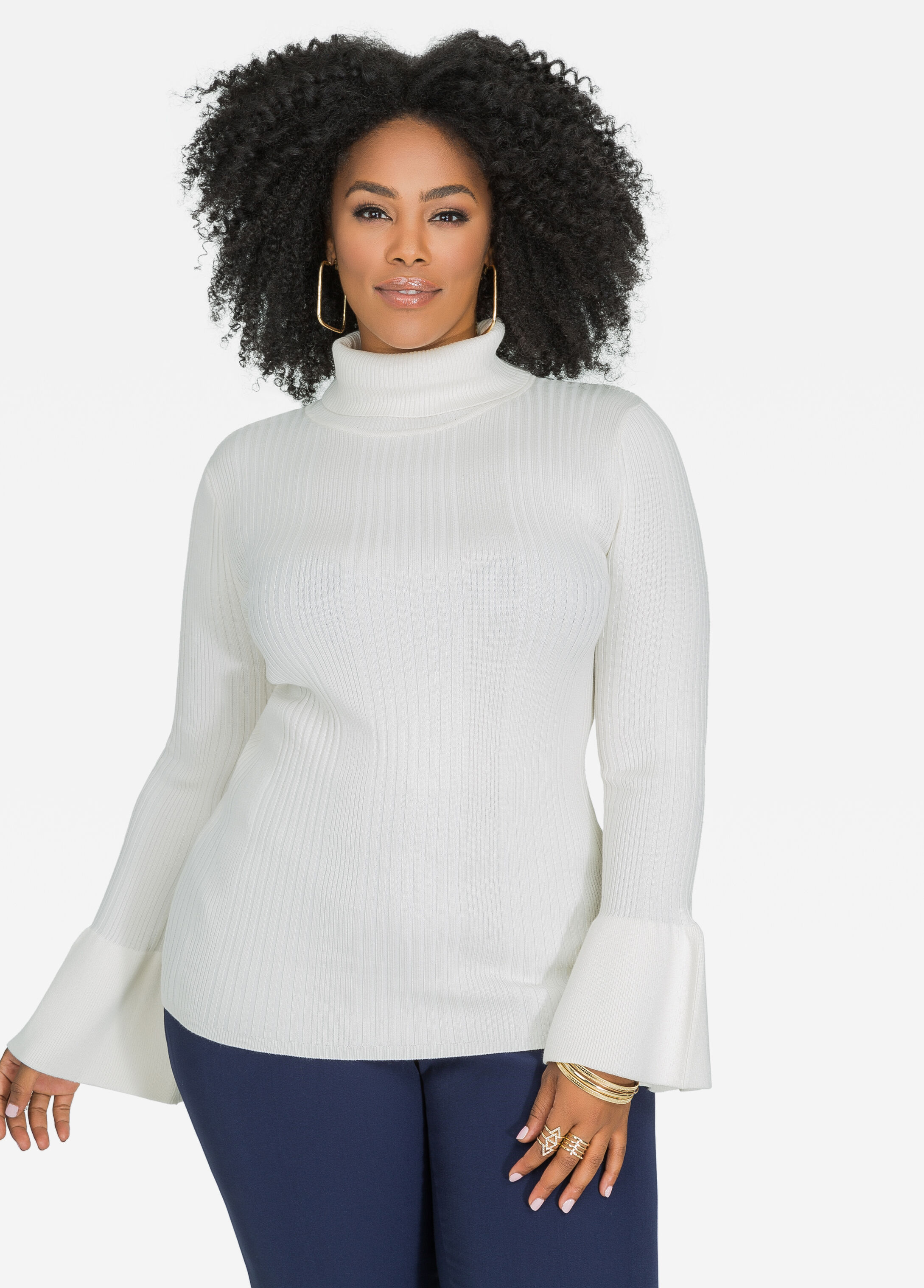 Bell Sleeve Ribbed Turtleneck Sweater