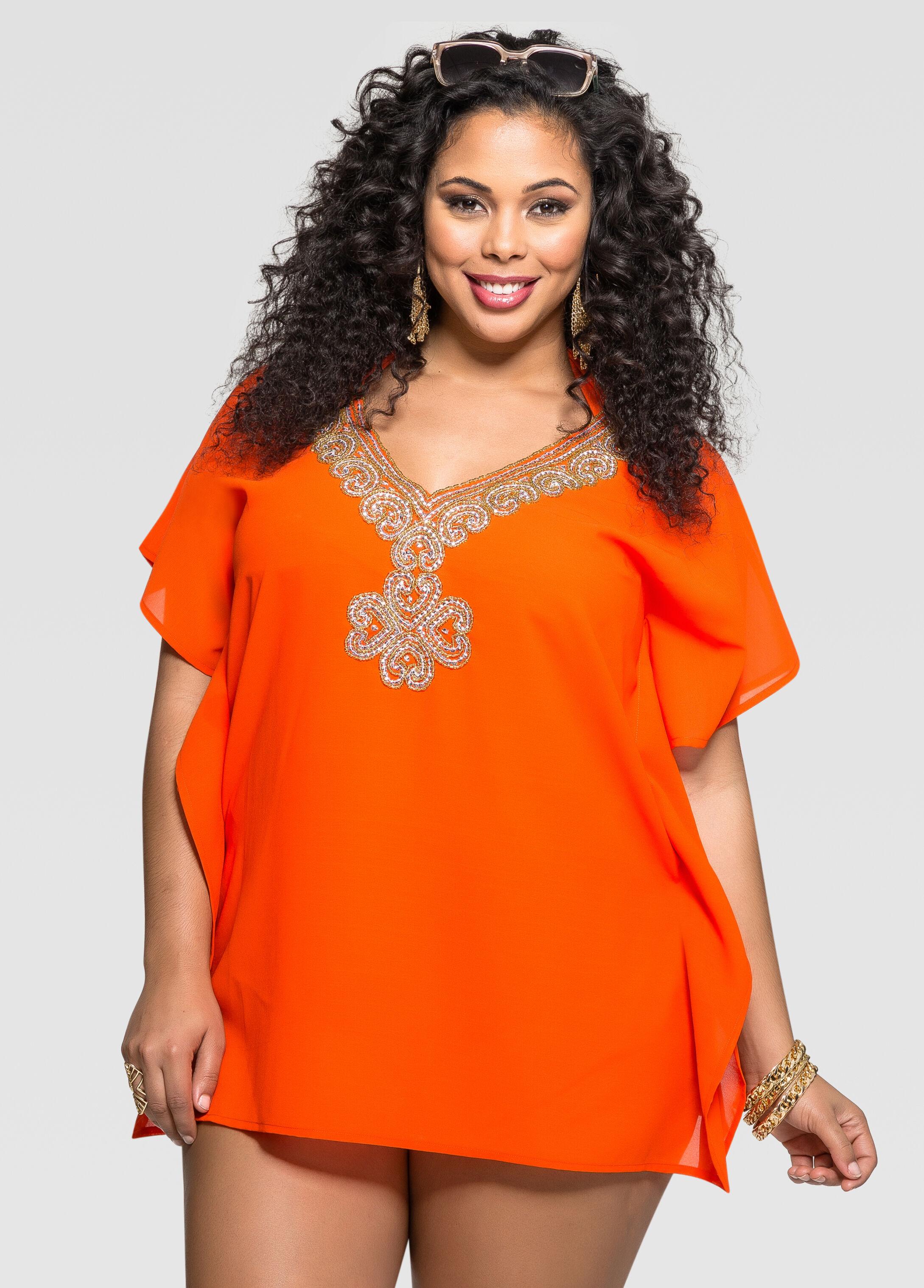 Tangerine Embellished Neck Cover-Up