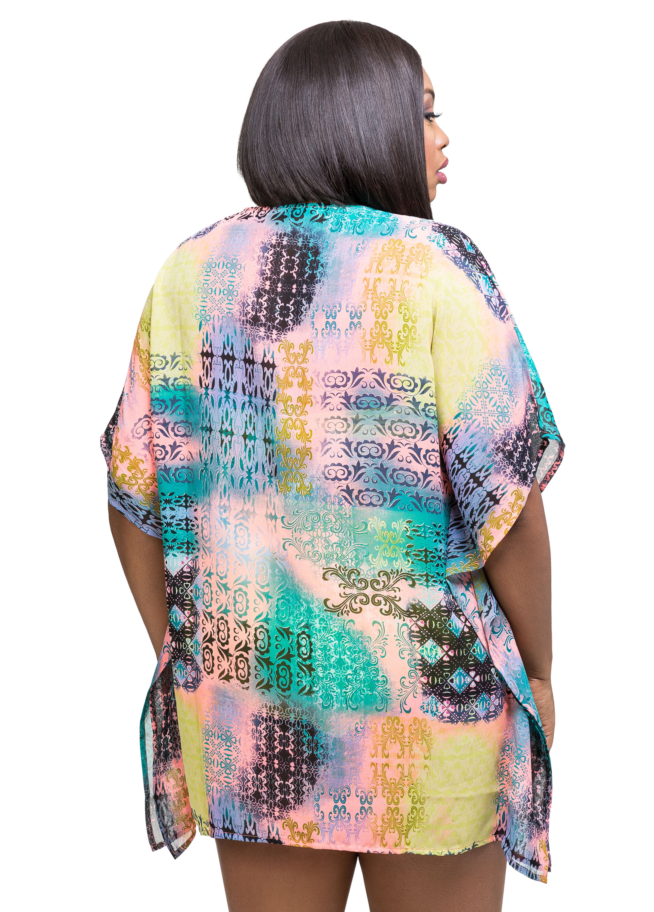 Printed Beaded Cover-Up Top