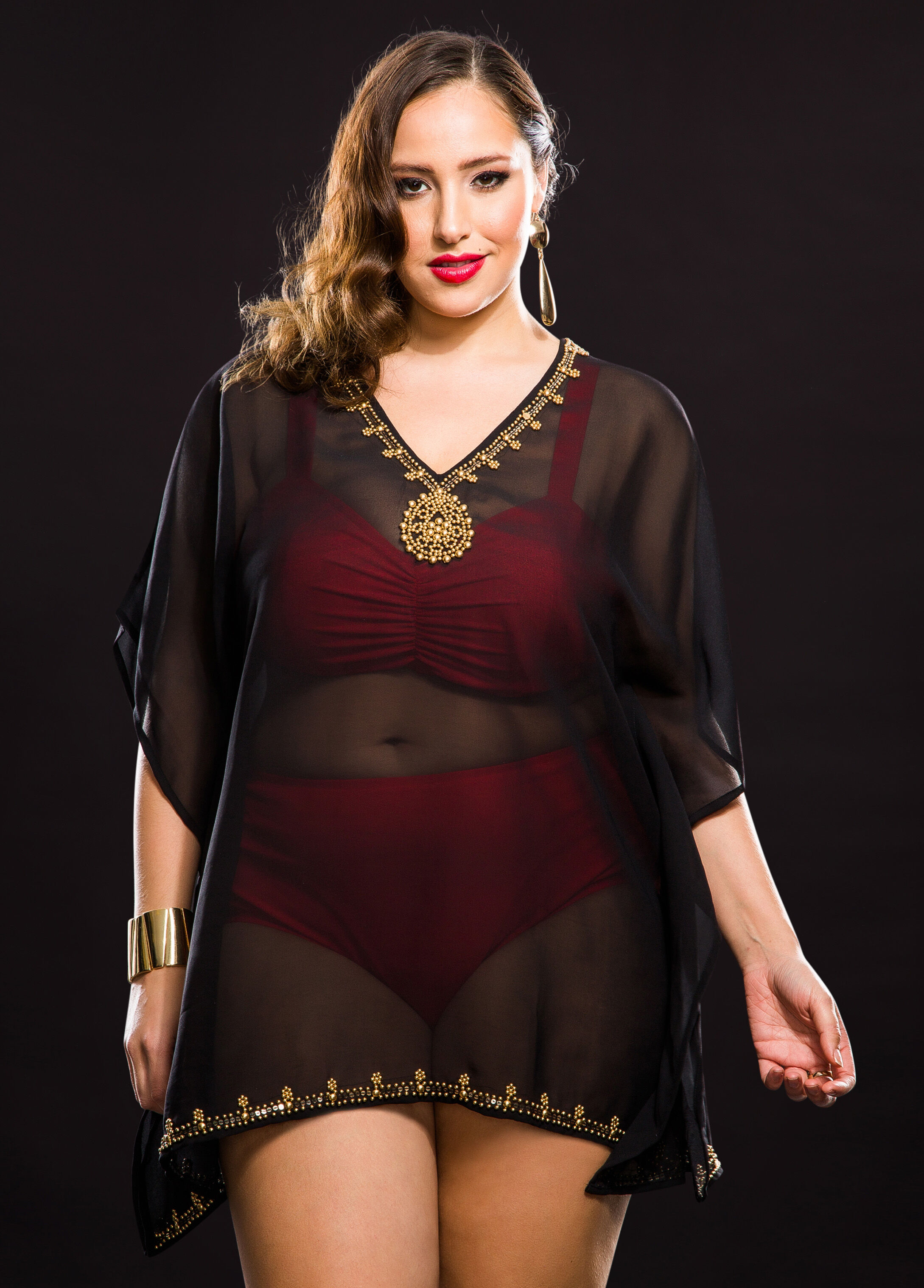 Sequin Beaded Neck Sheer Poncho Cover-Up