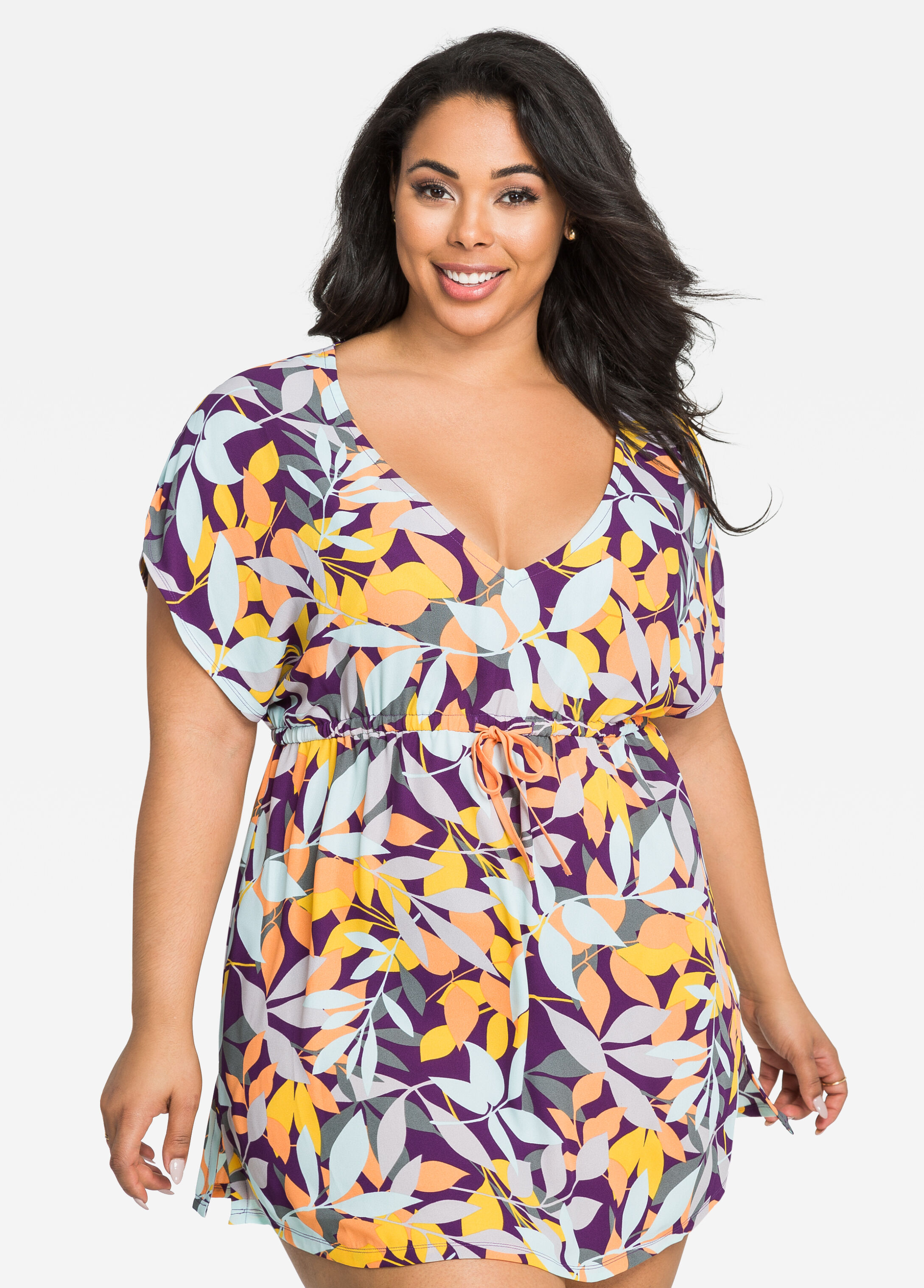 Nature Graphic Print Kaftan Cover-Up