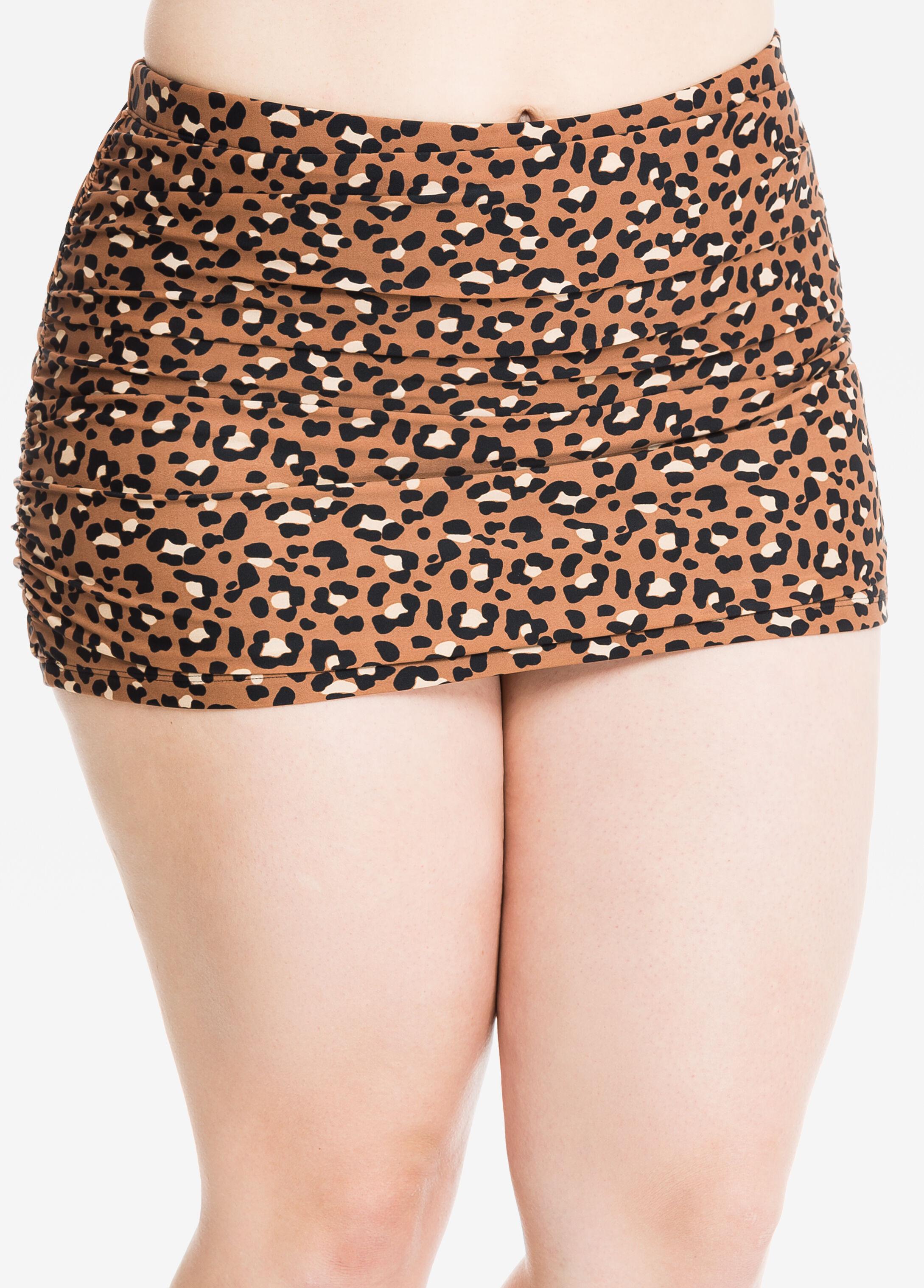 Cheetah Print Ruched Swim Skirt