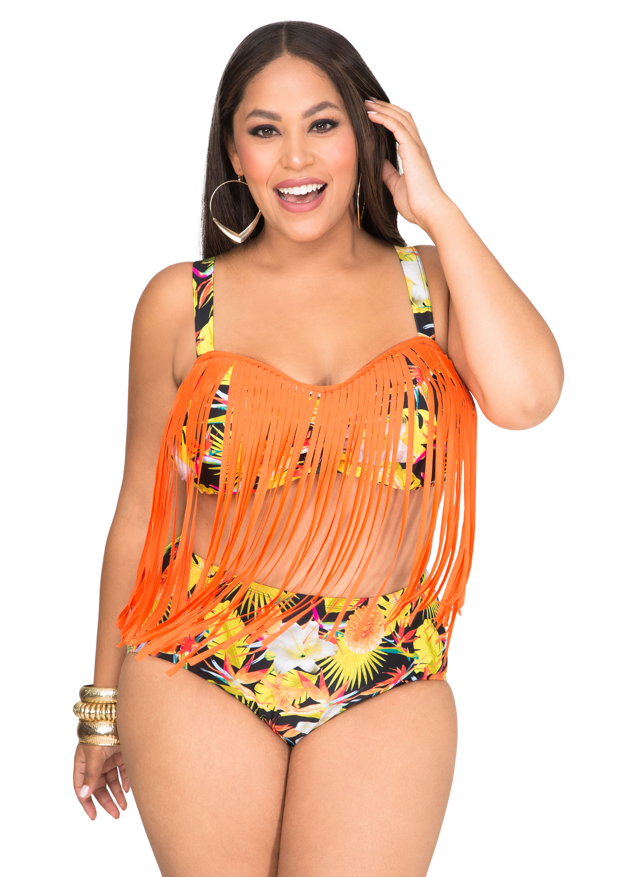 Tropical Fringe Underwire Bra Bikini Top