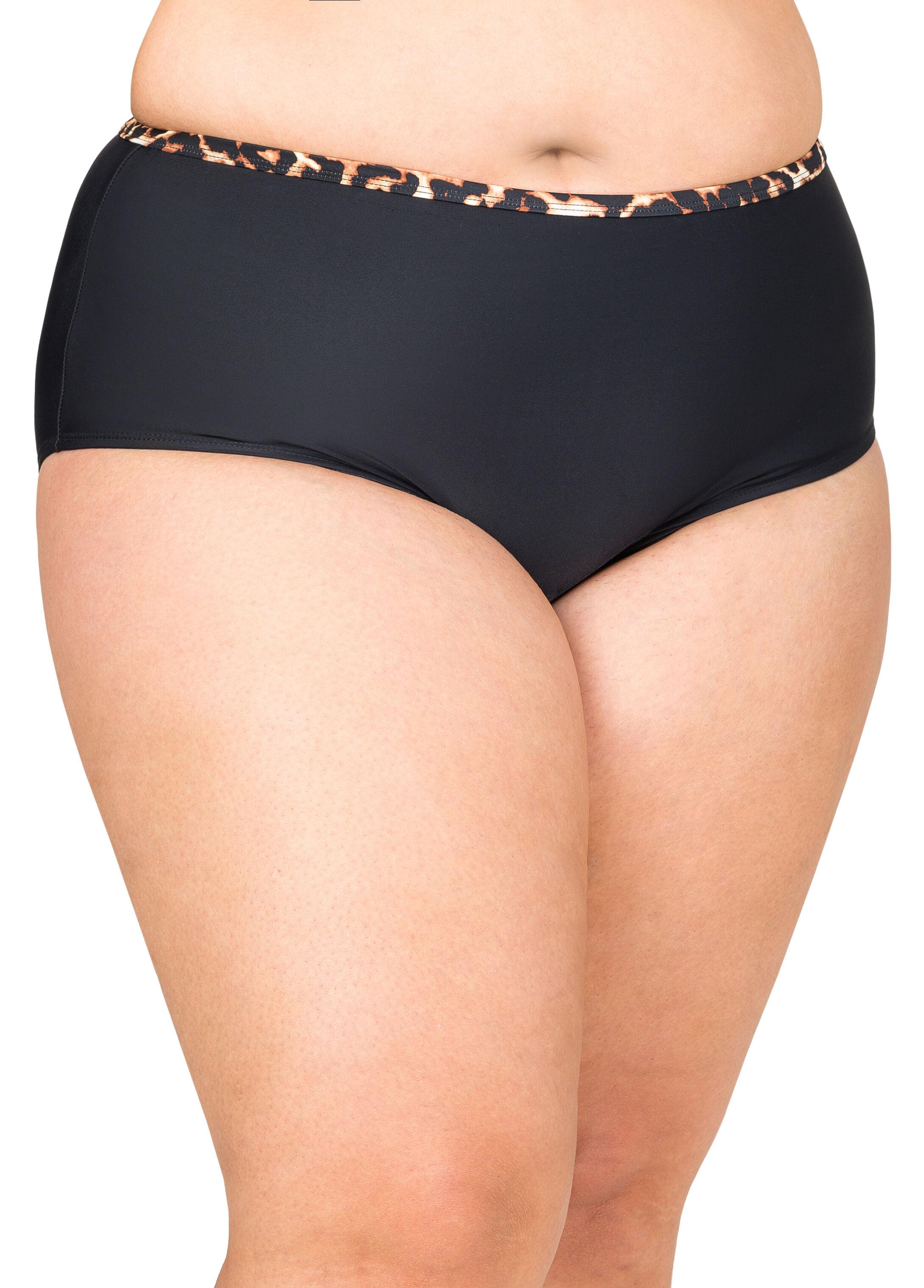 Leopard Trim High Waist Bikini Bottom