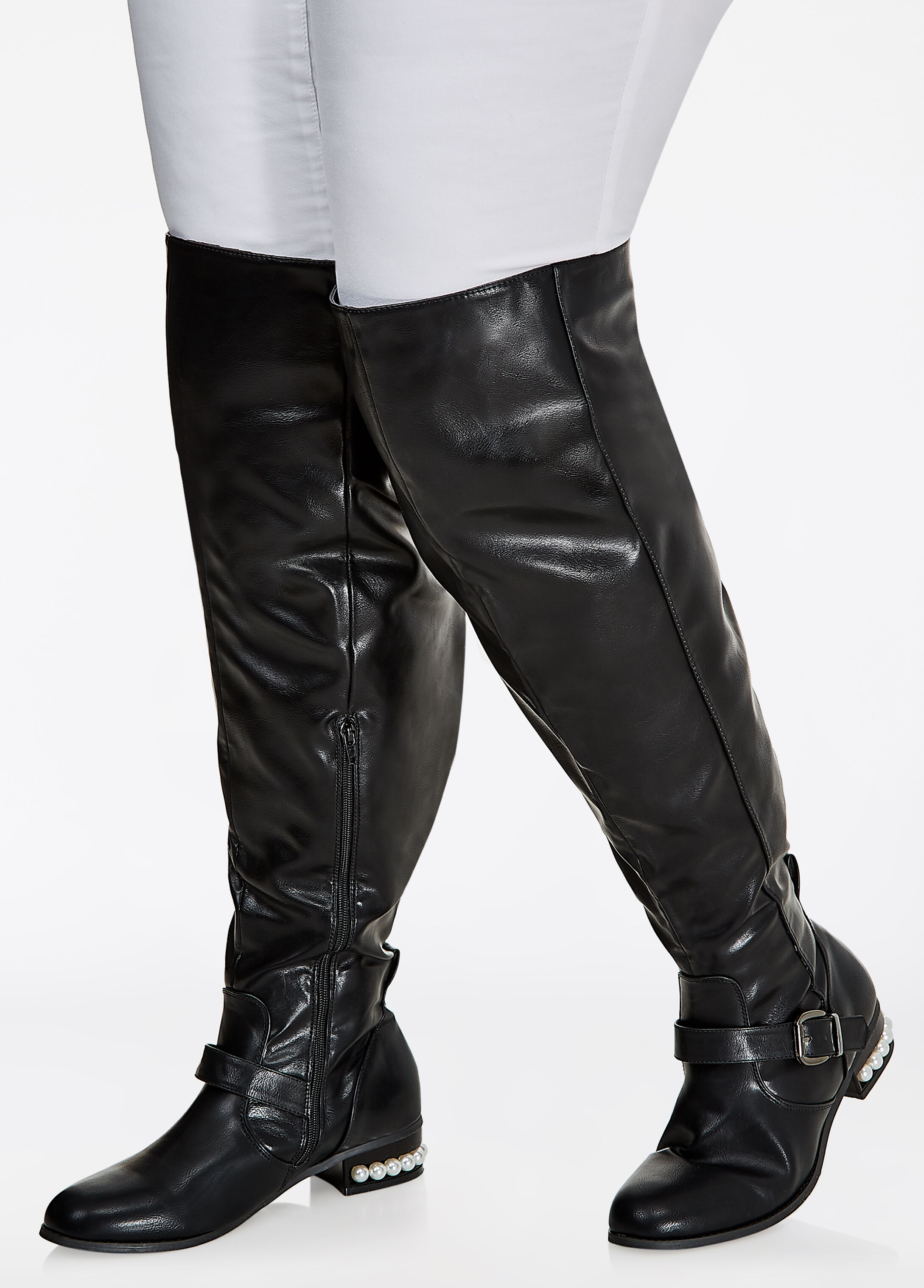 Over-Knee Pearl Flat Boot - Wide Width