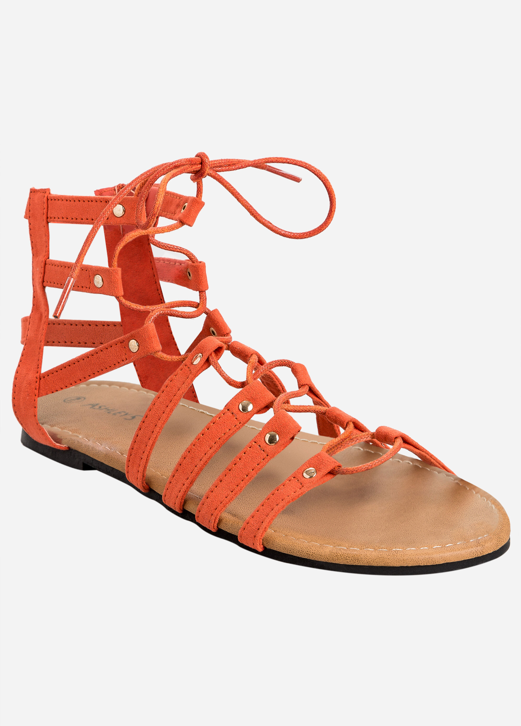 Strappy Lace Up Flat Sandal - Wide Width Orange - Clearance