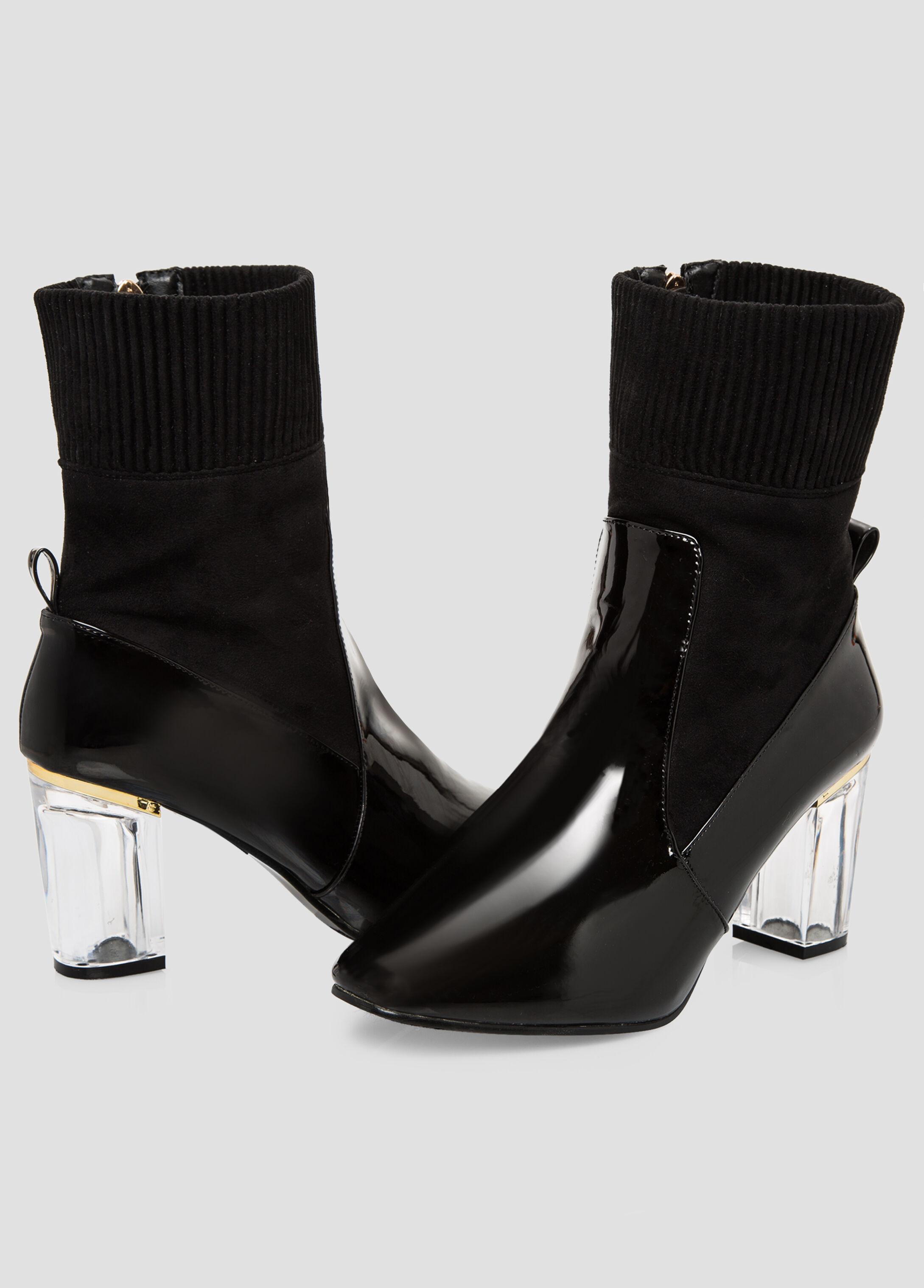 Patent Lucite Heel Sock Bootie - Wide Width