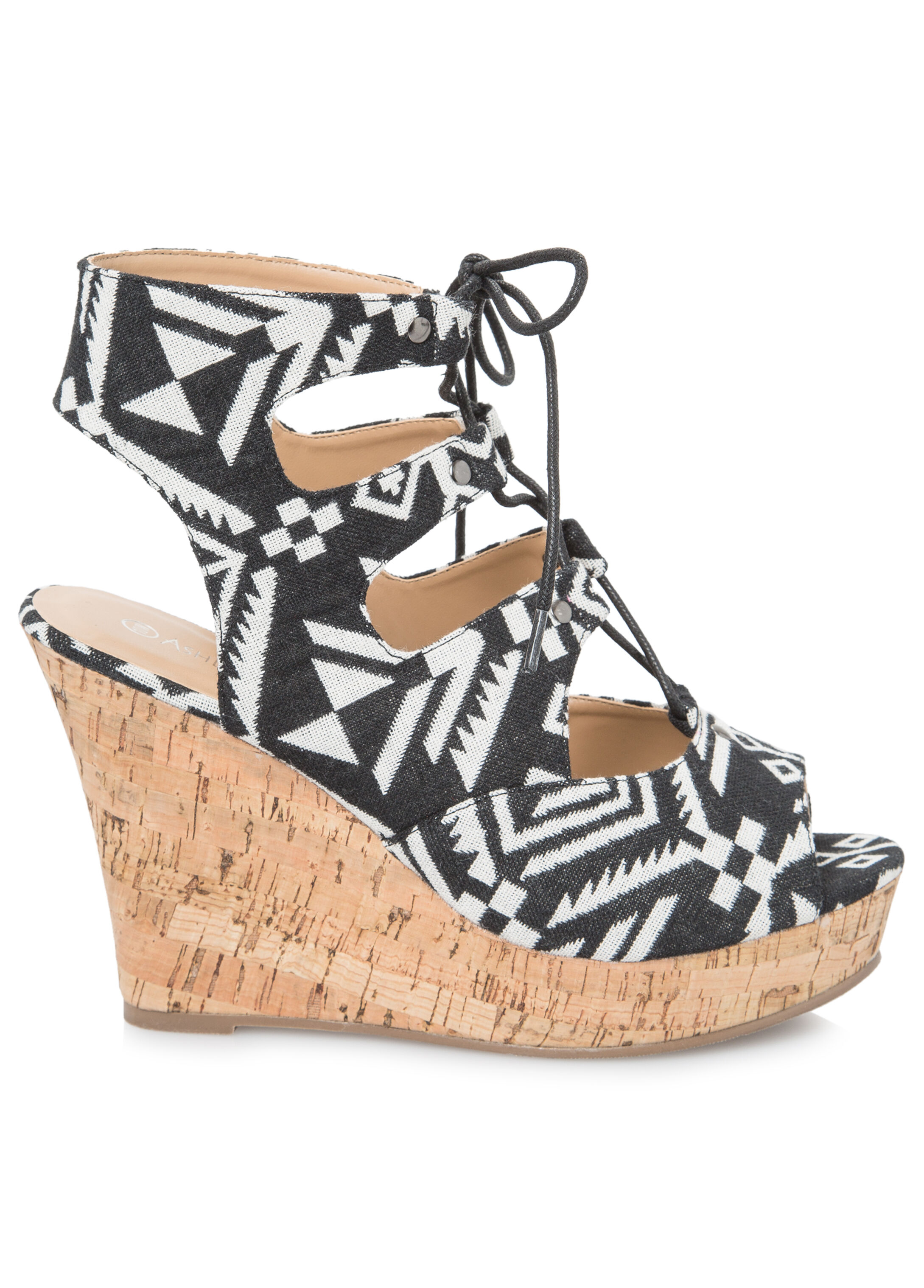 Lace-Up Cork Wedge - Wide Width