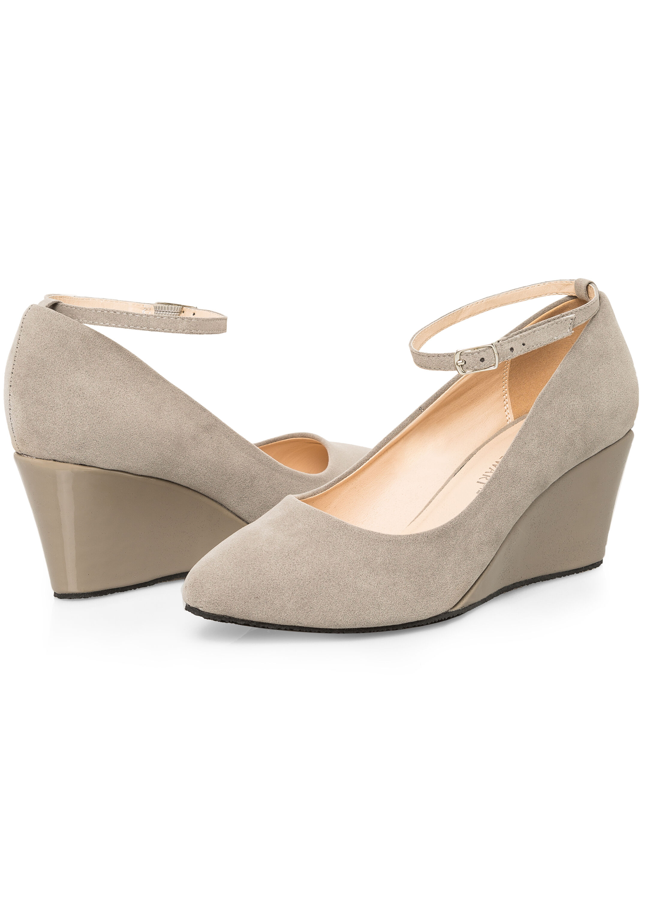 Ankle Strap Contrast Wedge - Wide Width