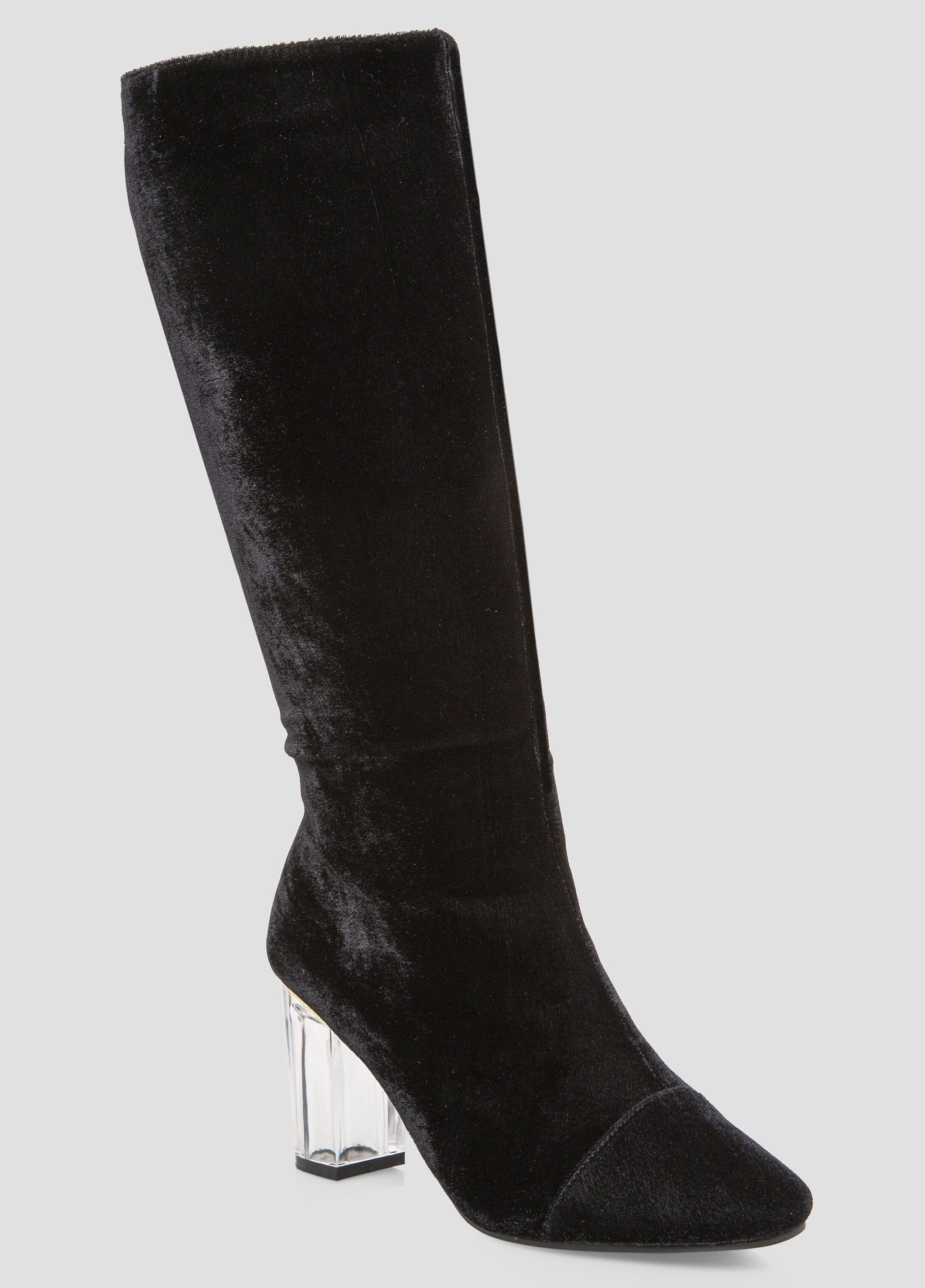 Velvet Lucite Knee High Boot - Wide Calf, Wide Width