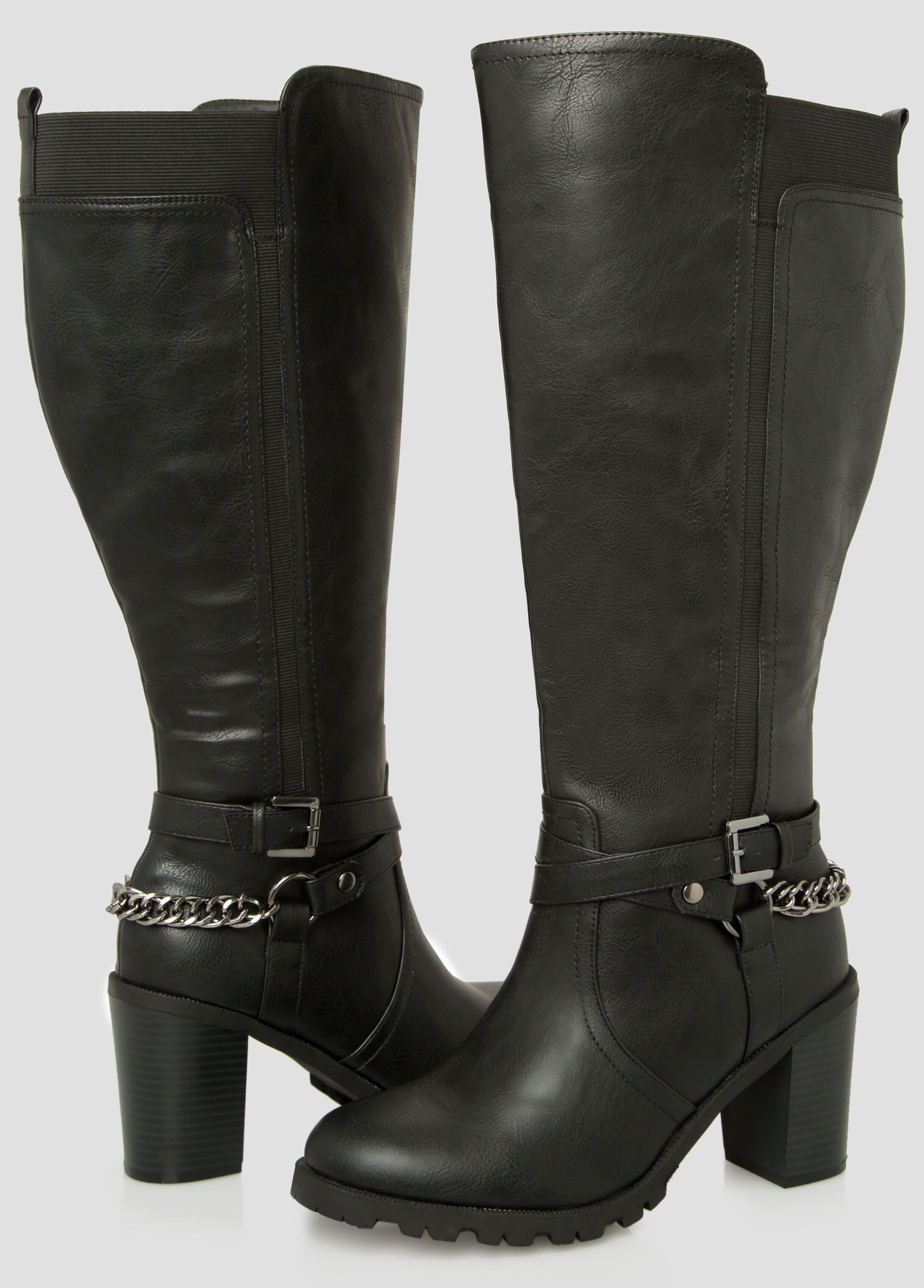 Chain Knee High Boot - Wide Calf Wide Width
