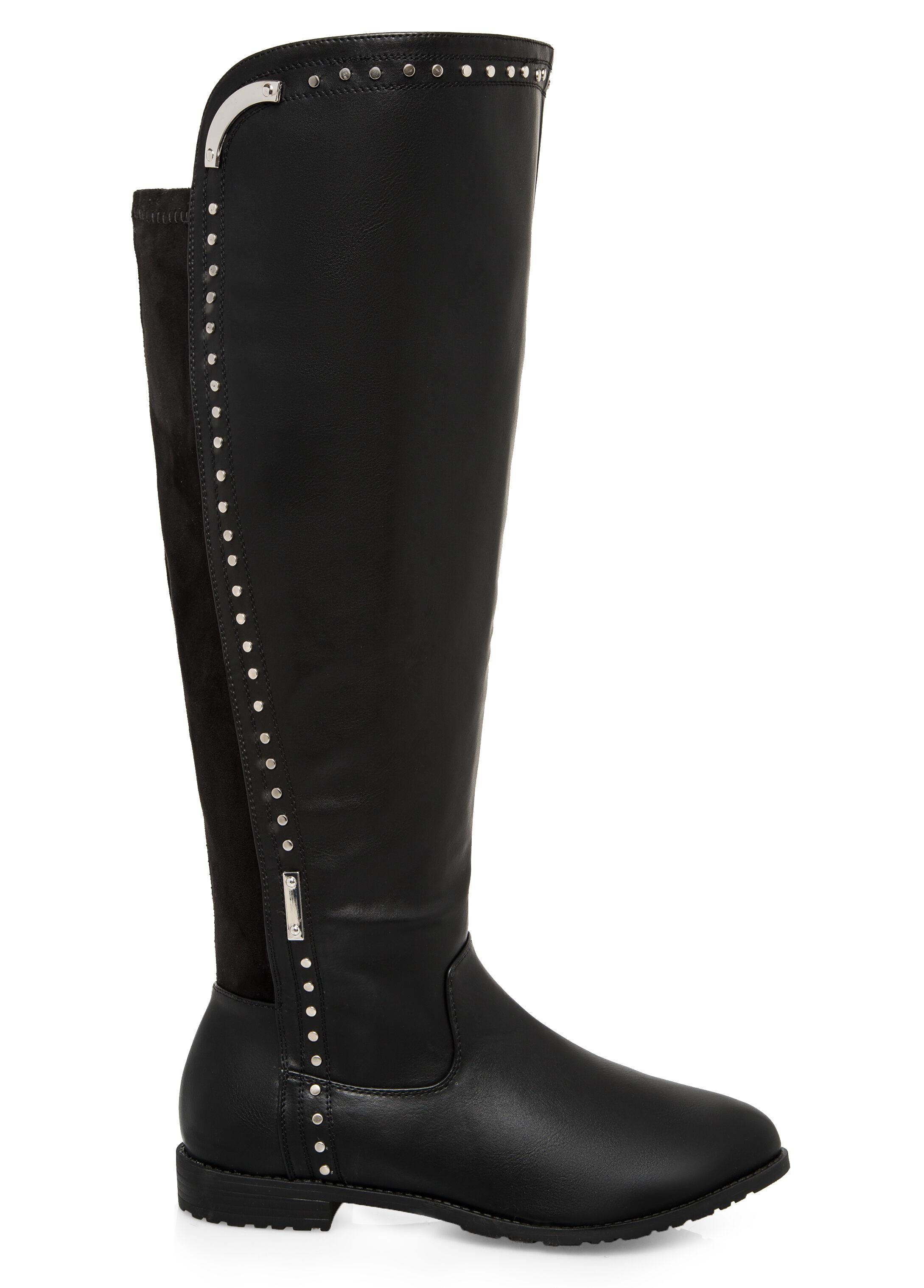 Flat Studded Tall Boot - Wide Calf, Wide Width