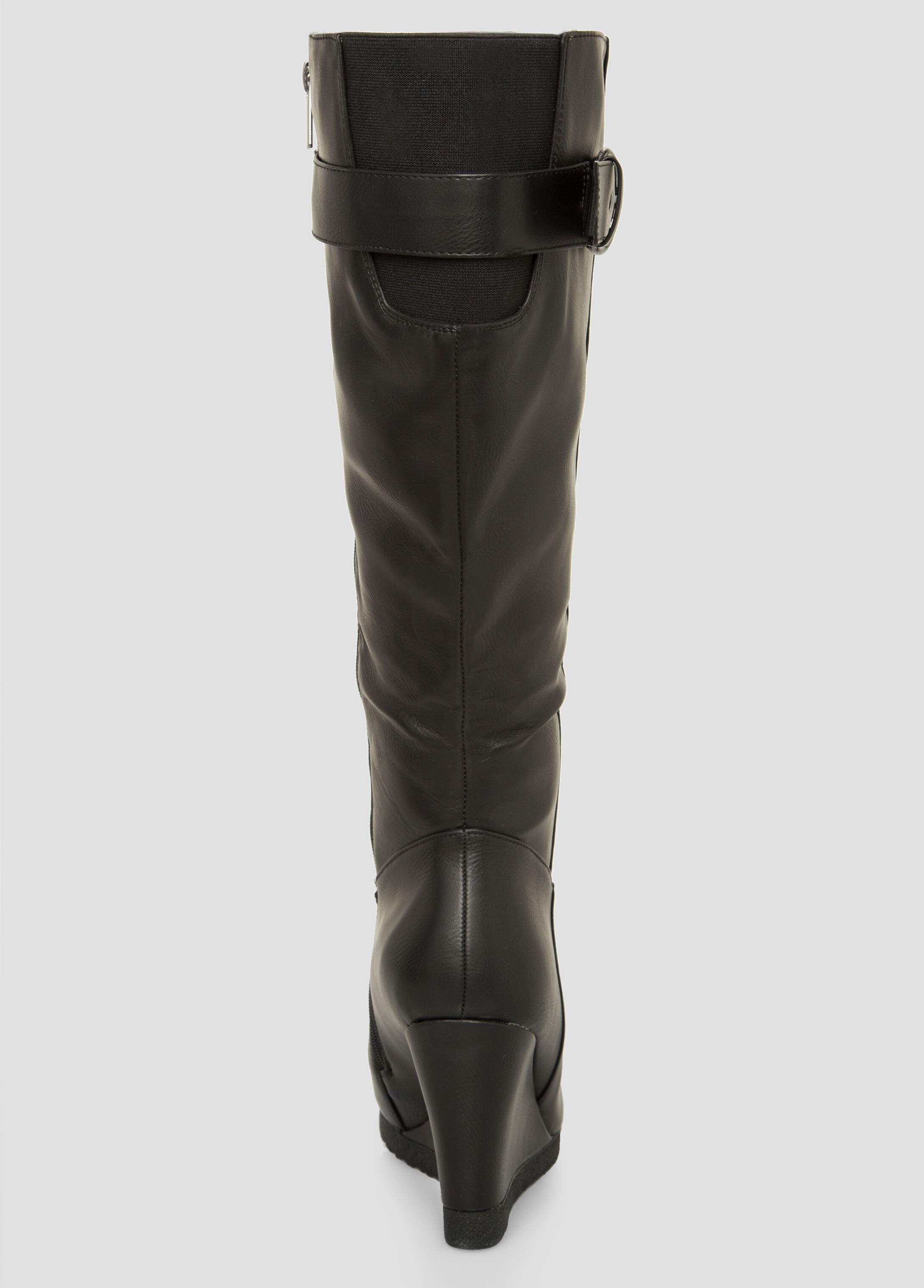 Buckle Tall Wedge Boot-Wide Calf Wide Width