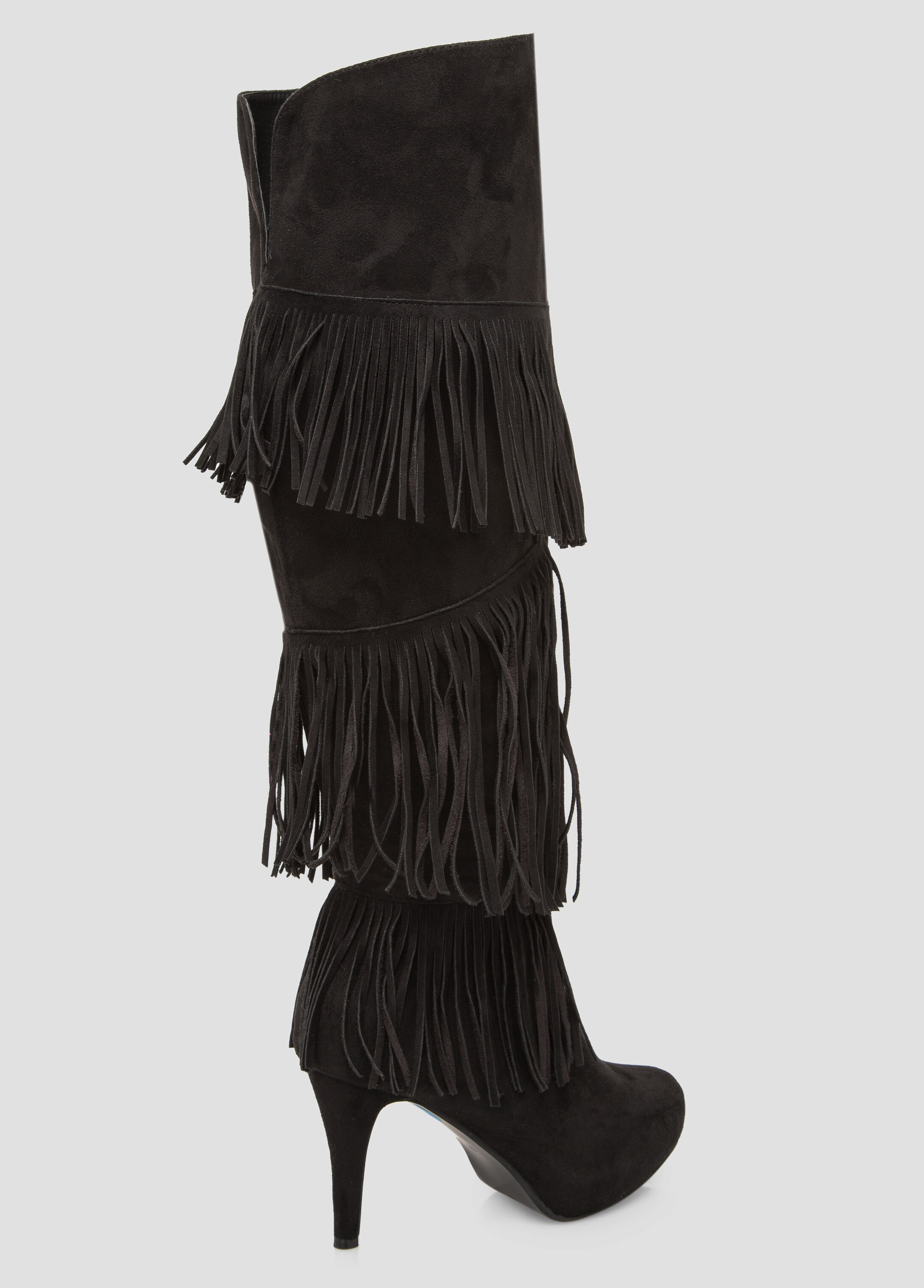 Fringe Knee High Boot - Wide Calf, Wide Width