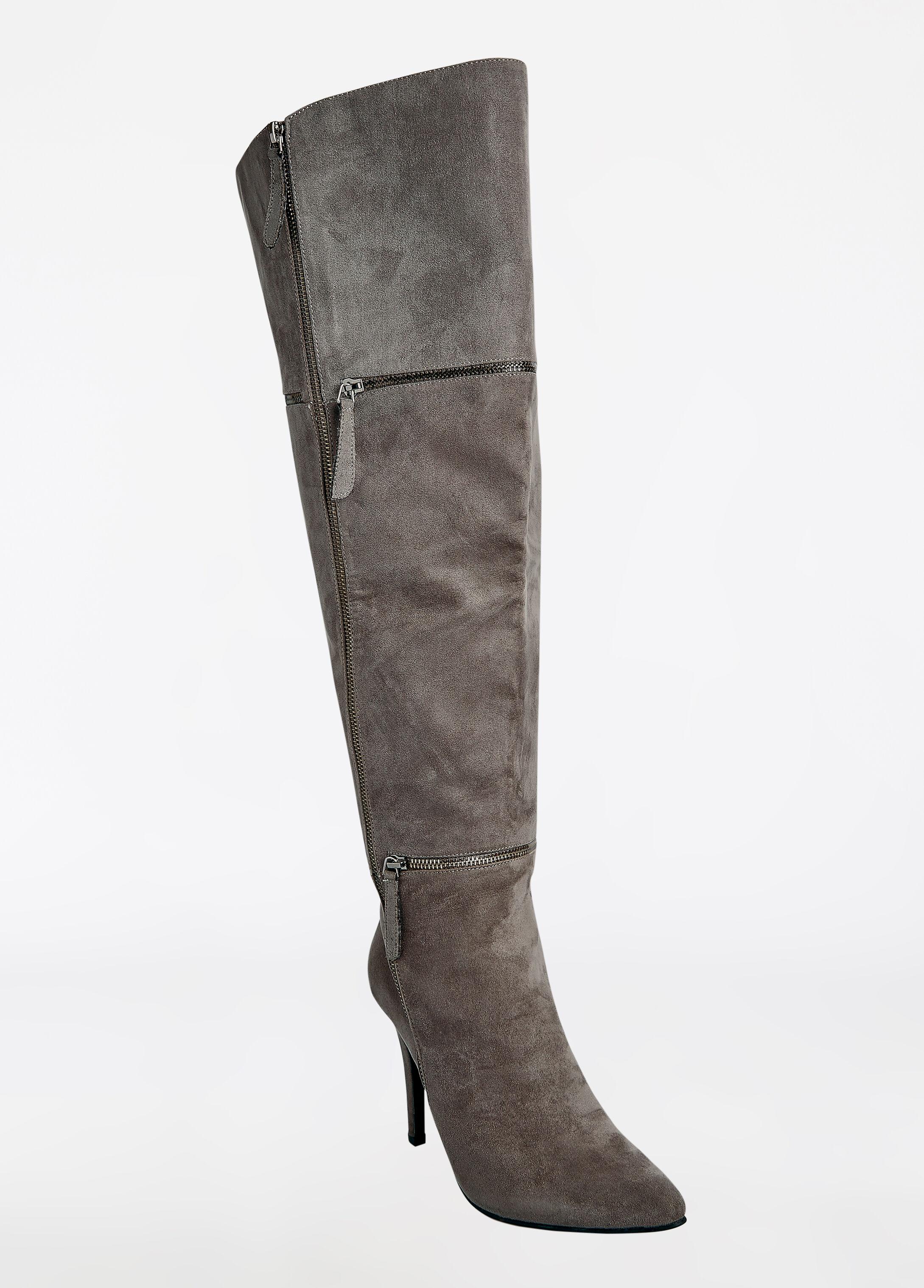Over The Knee Zip Heel Boot - Wide Width