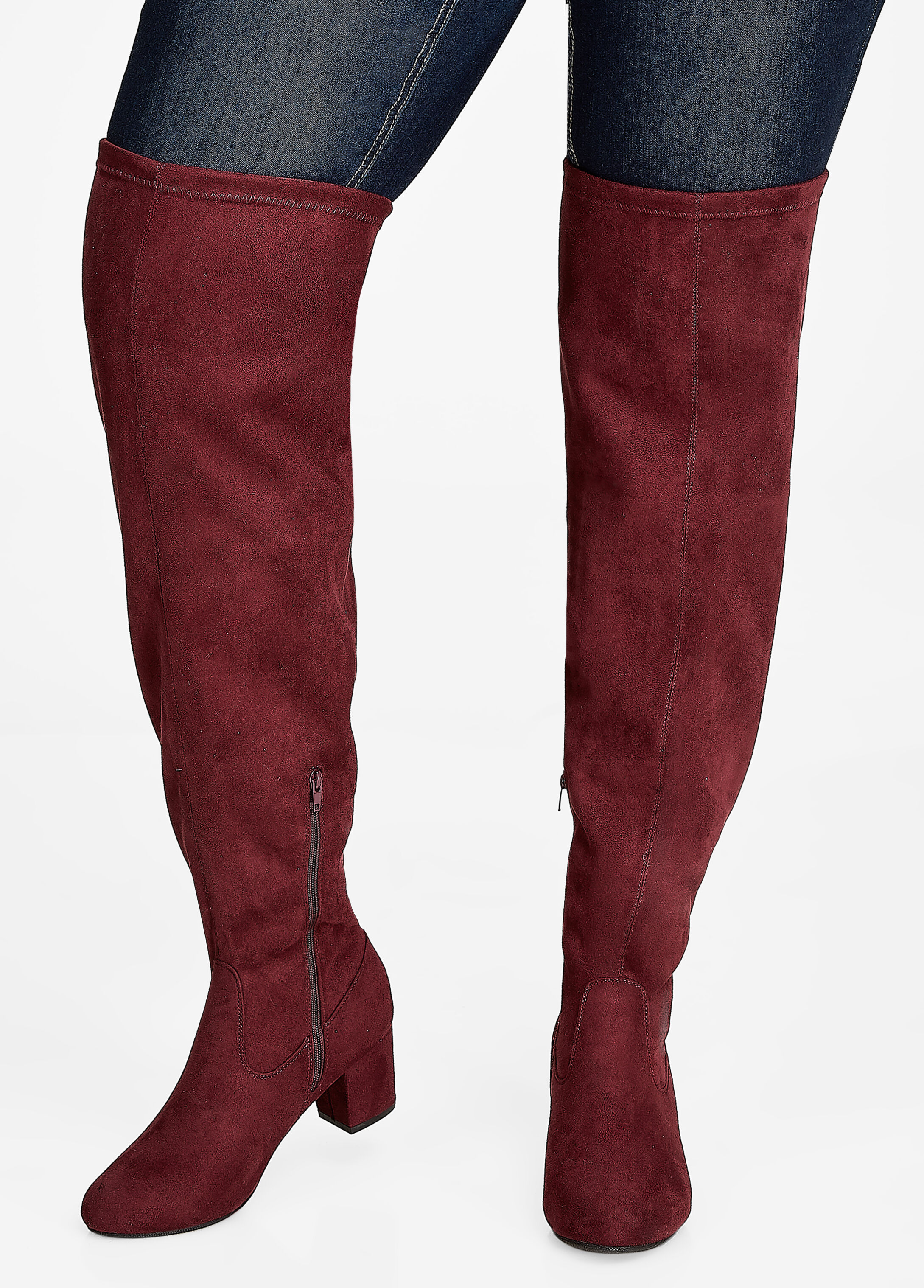 Over-the-Knee Faux Suede Boots - Wide Width - Wide Calf