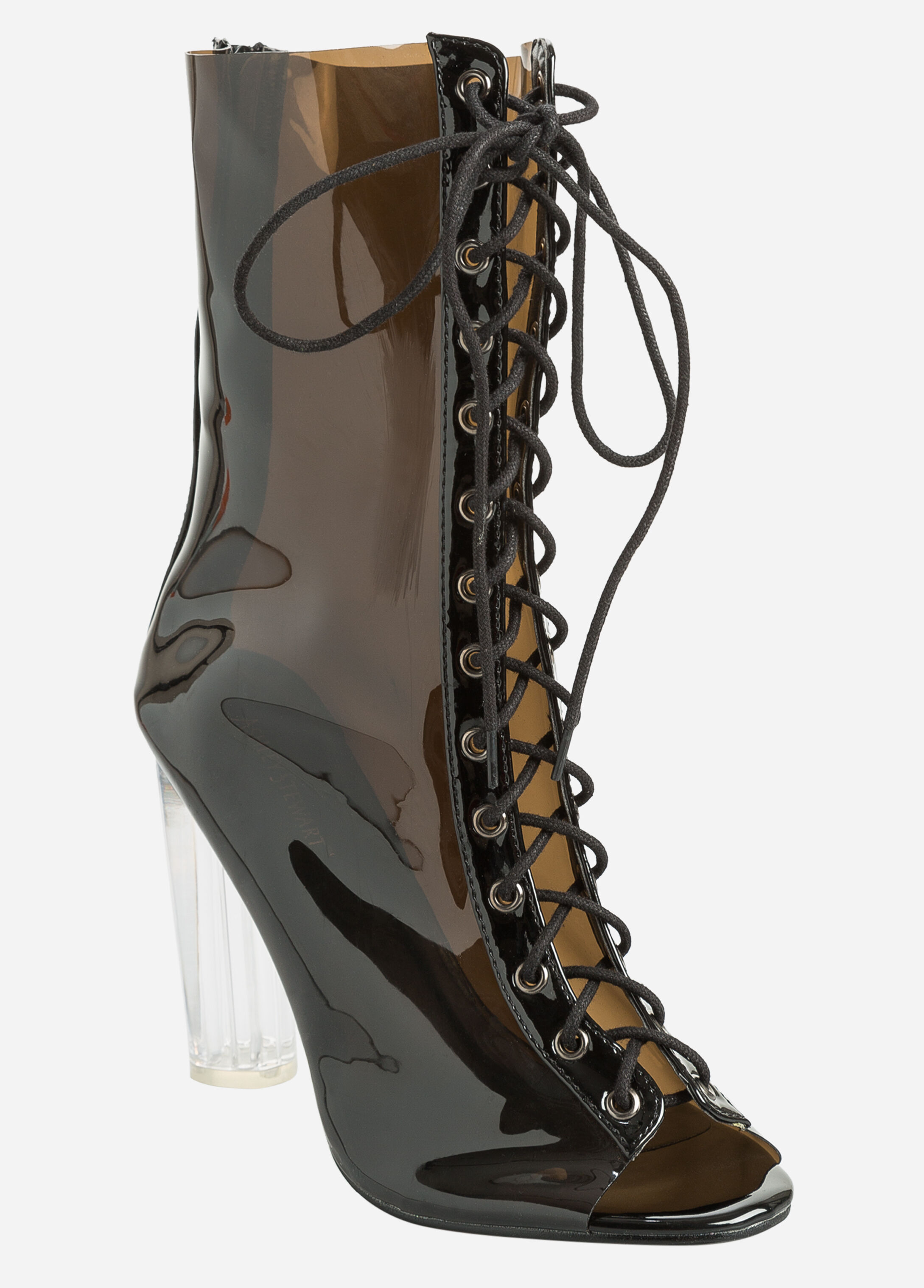 Lace-Up Clear Heel Booties - Wide Width Smoke - Clearance