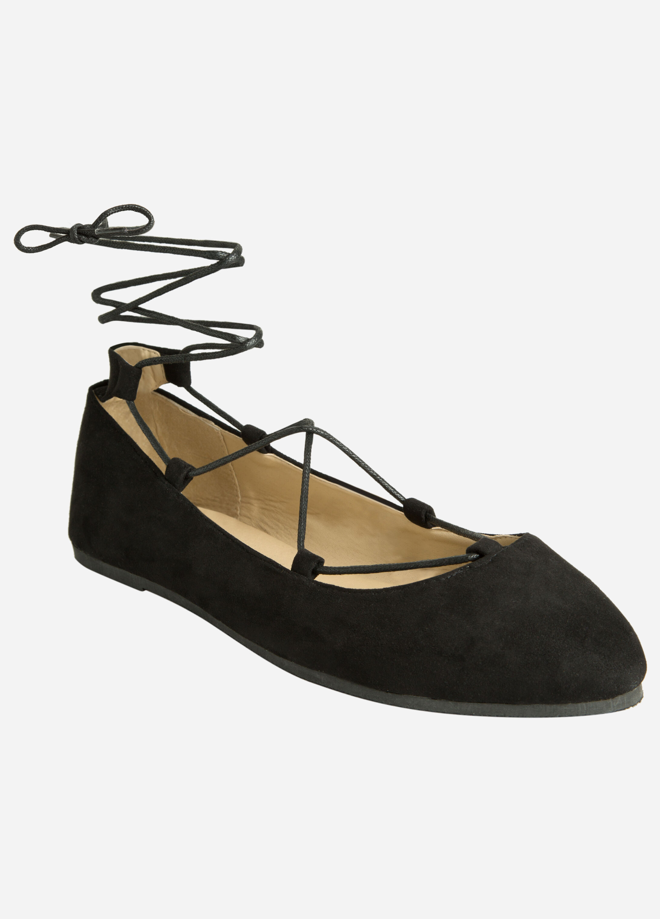 Lace Up Faux Suede Flat - Wide Width Black - Clearance