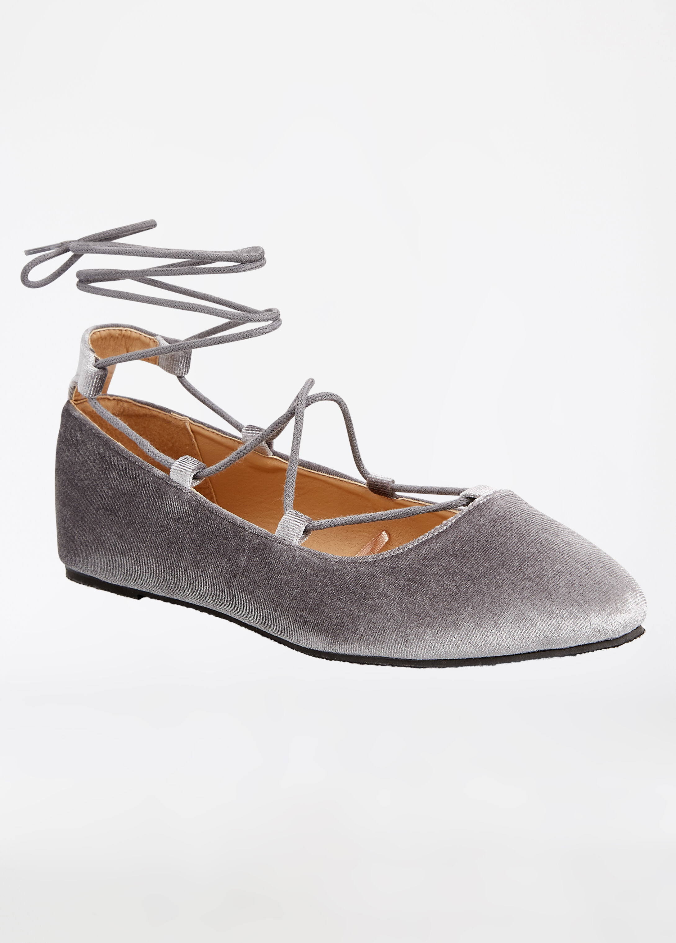 Velvet Lace Up Flat - Wide Width Grey - Clearance