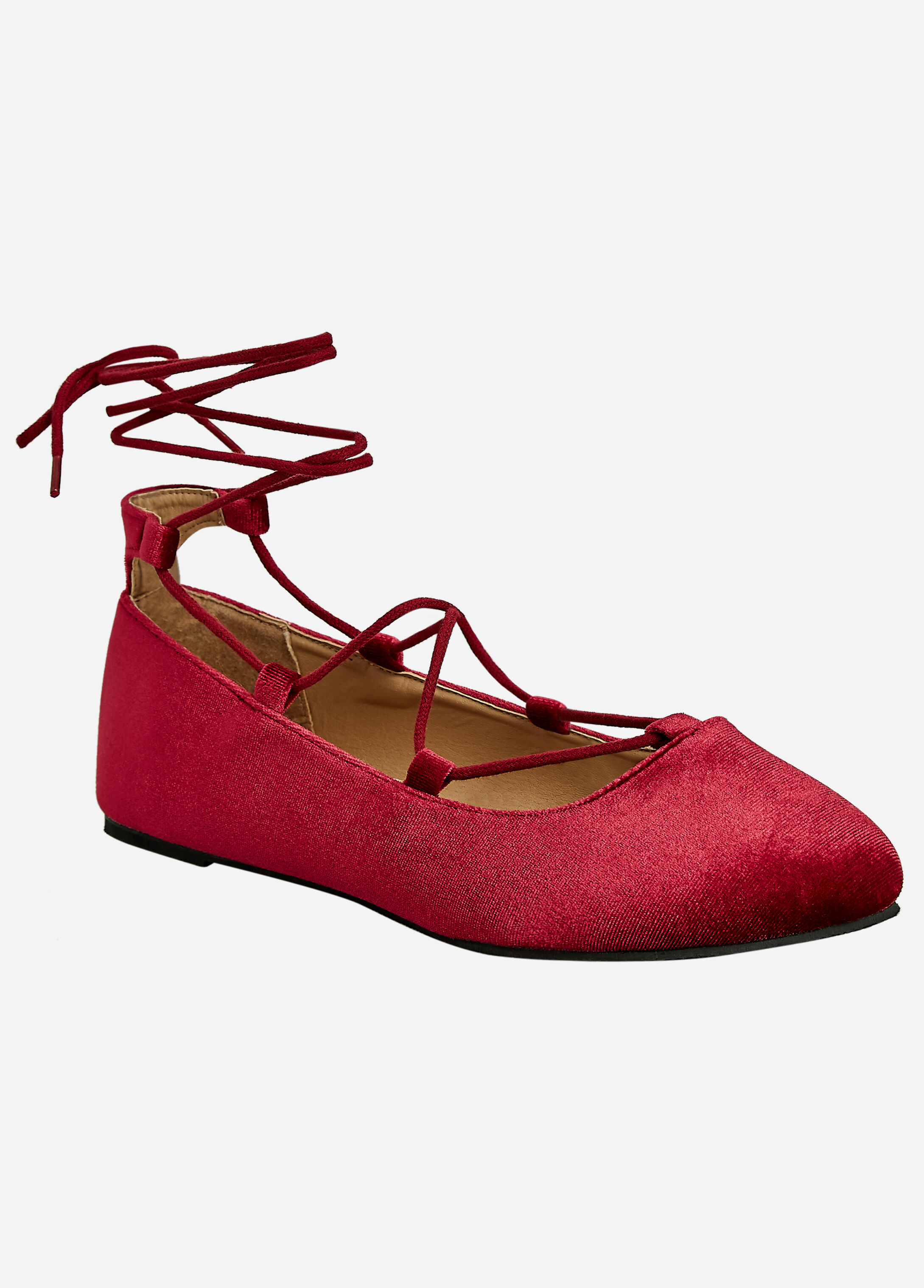 Velvet Lace Up Flat - Wide Width Wine - Clearance