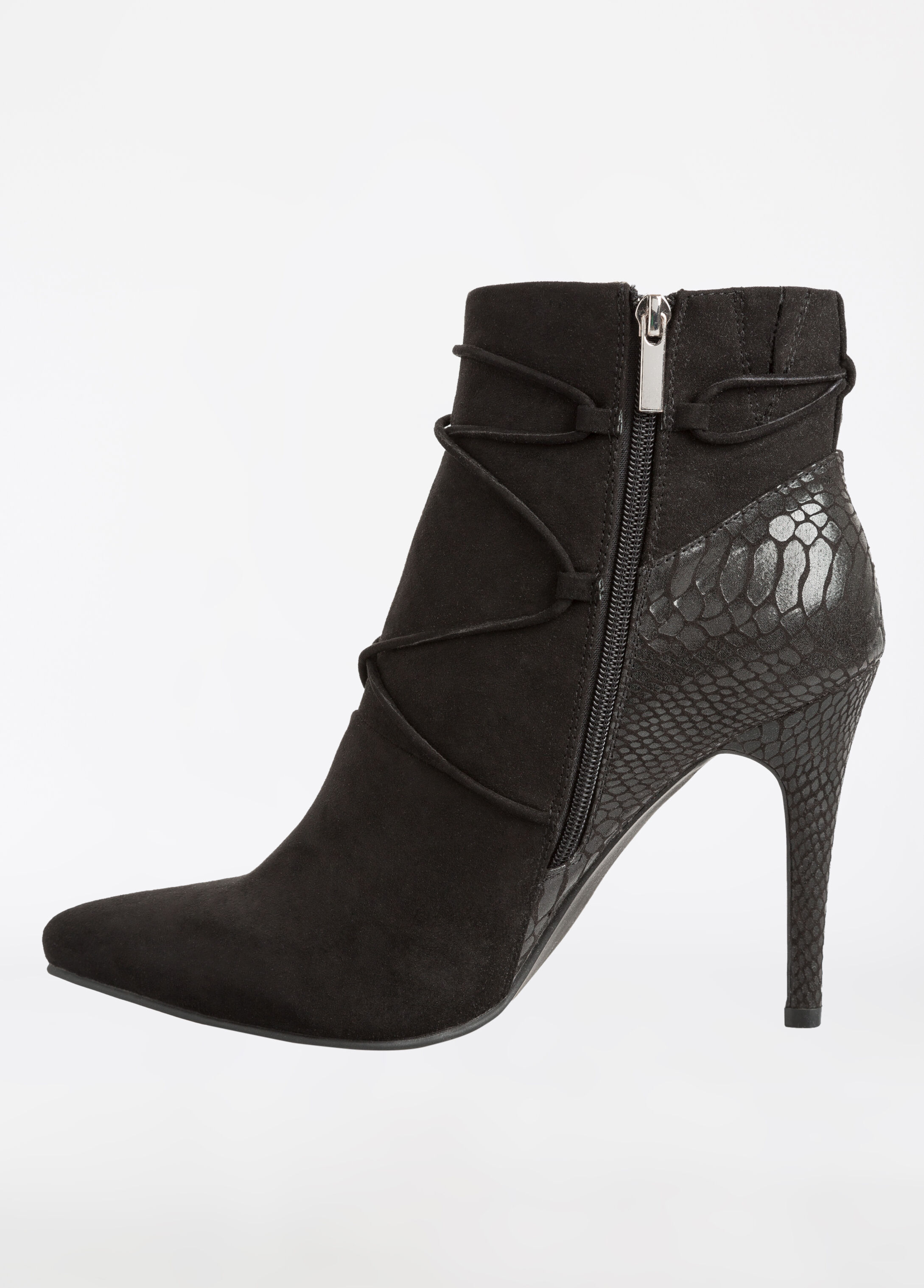 Pointy Toe Lace Up Front Bootie - Wide Width