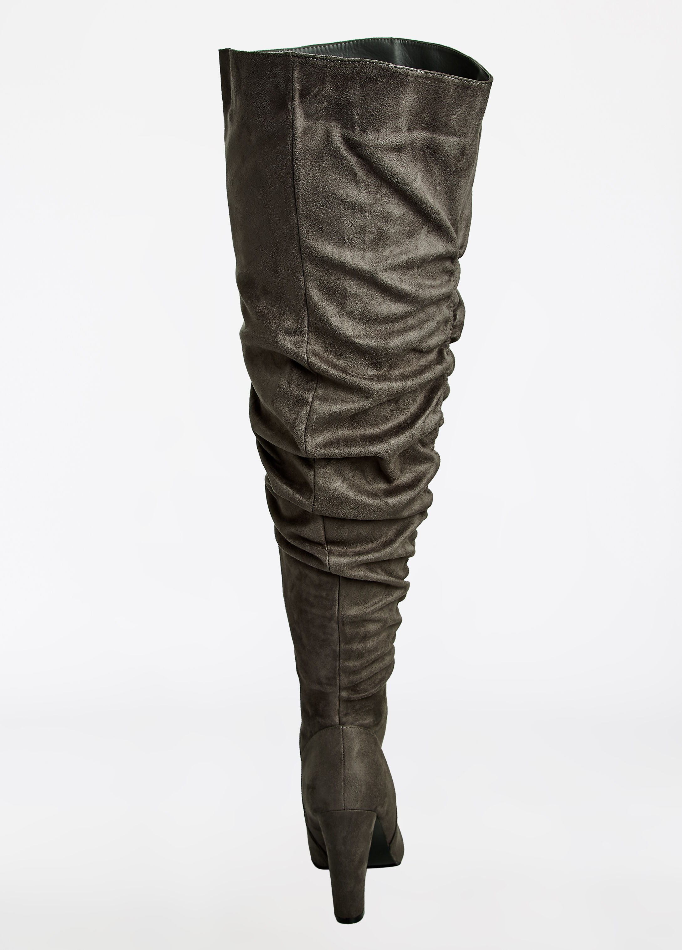 Faux Suede Ruched Leg Boot - Wide Width
