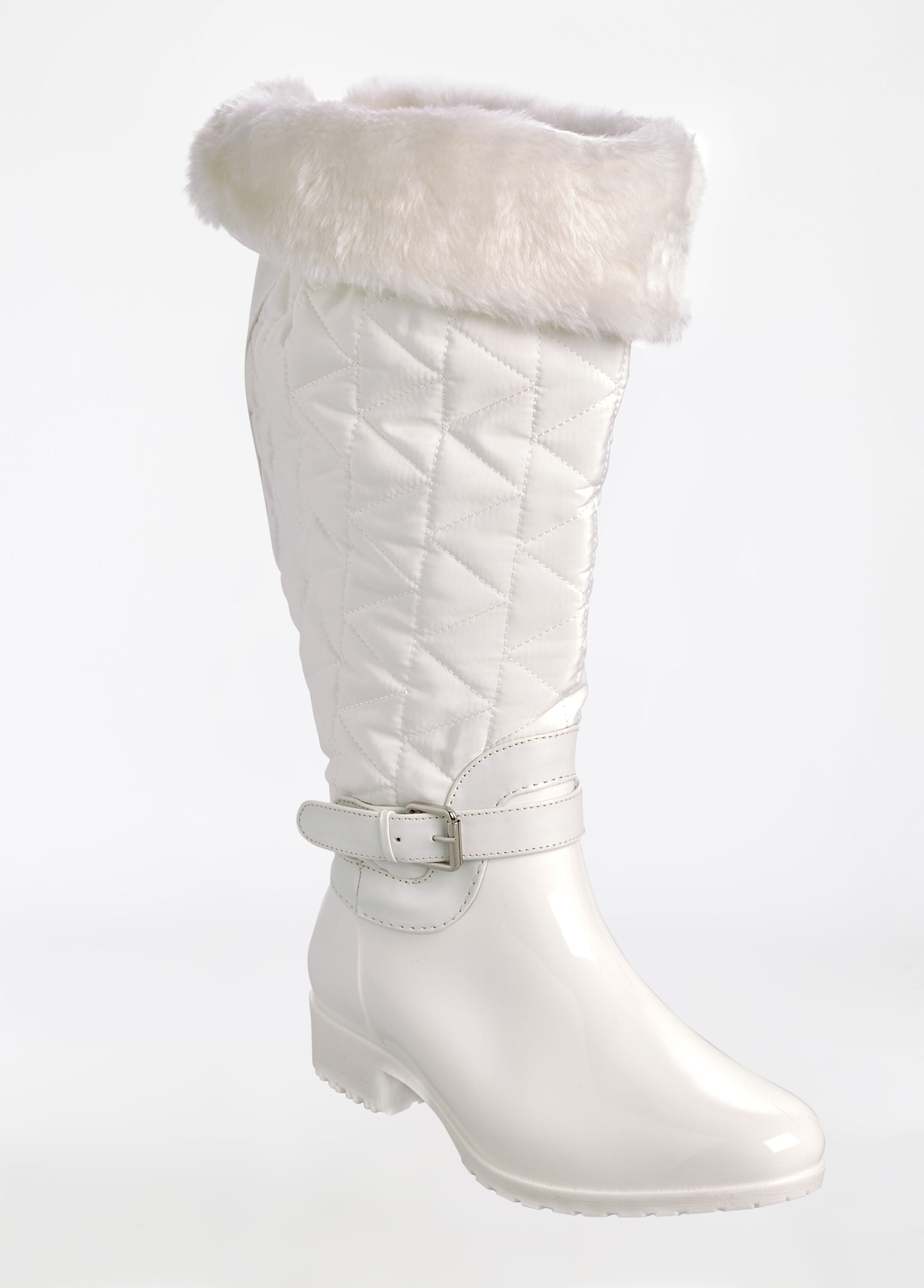 Side Buckle Quilted Fur-Lined Boot - Wide Width - Wide Calf