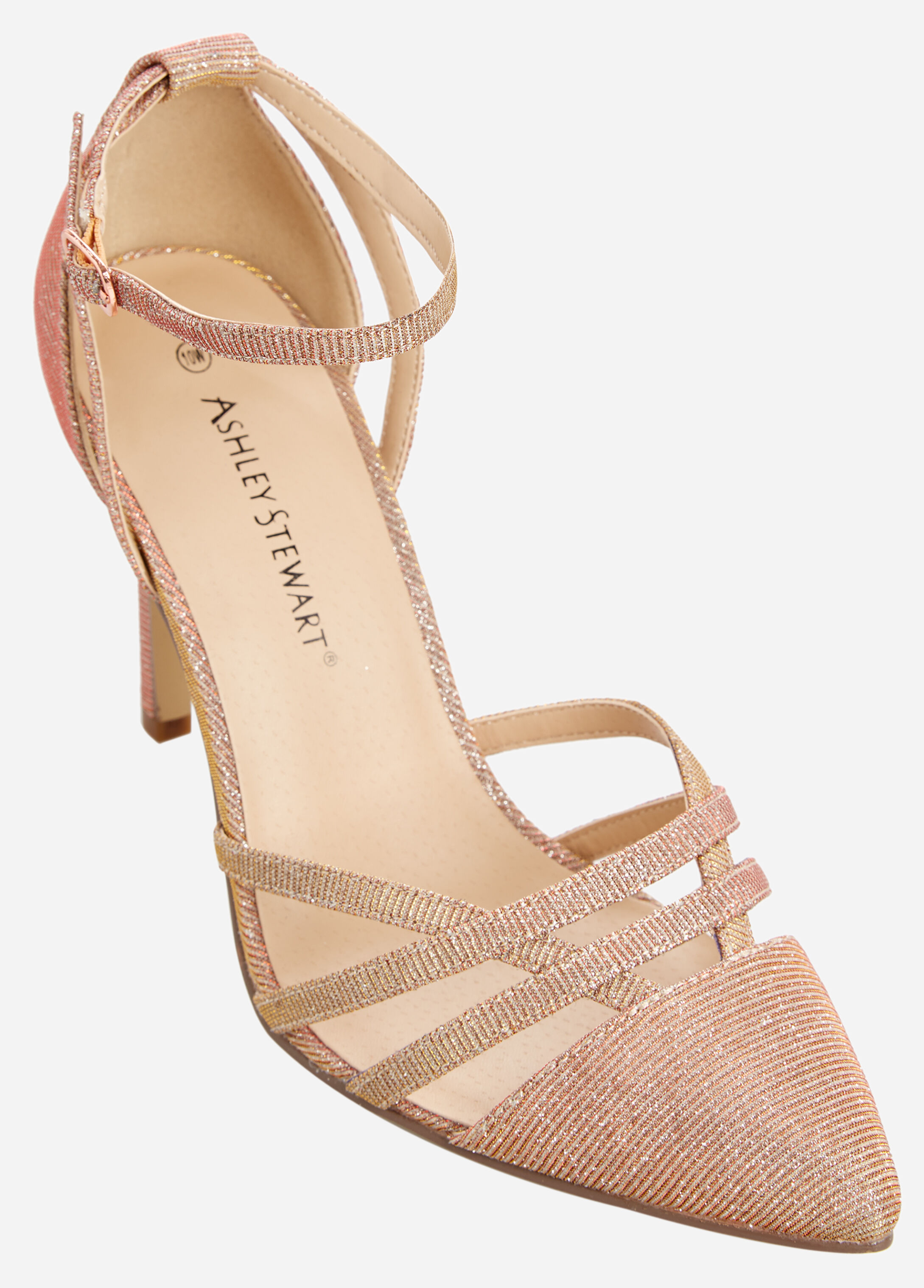 Open Pointy Toe Caged Heeled Pump - Wide-Width