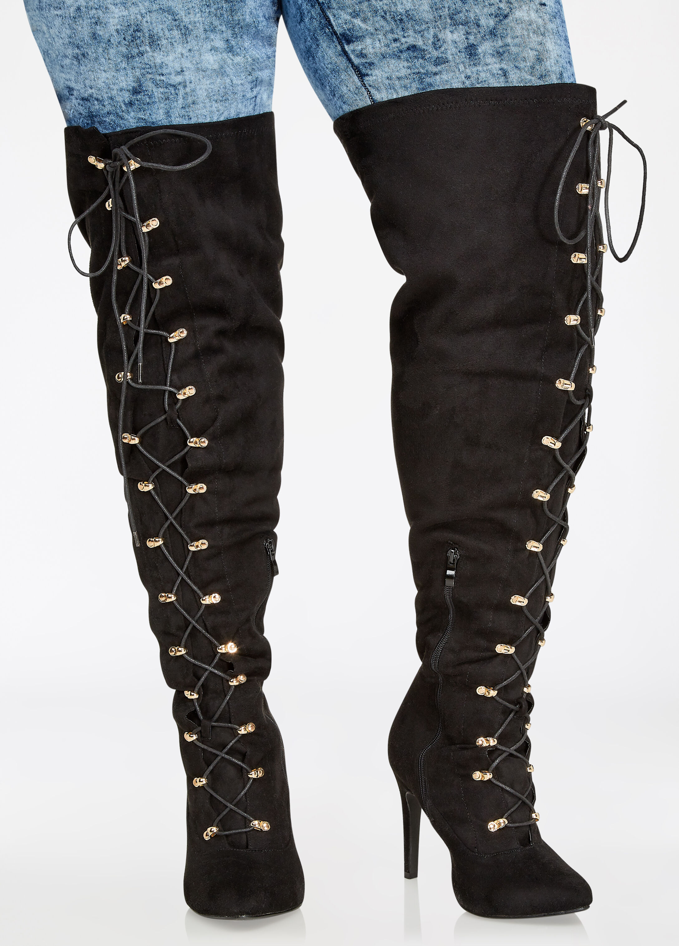 Over-the-Knee Lace-Up Heeled Boots - Wide-Width, Wide-Calf