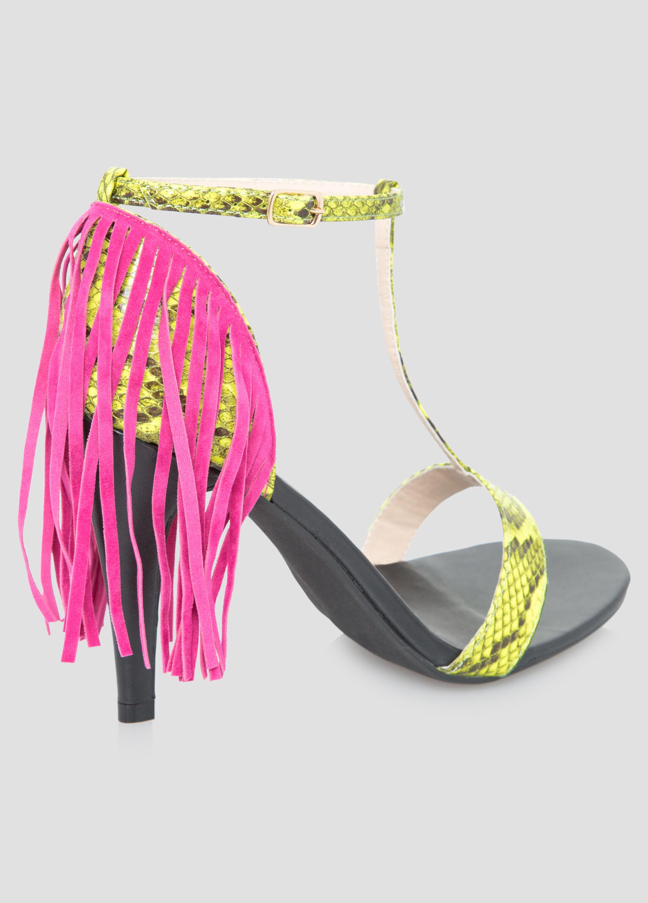Snake Fringe T-Strap Sandal - Wide Width