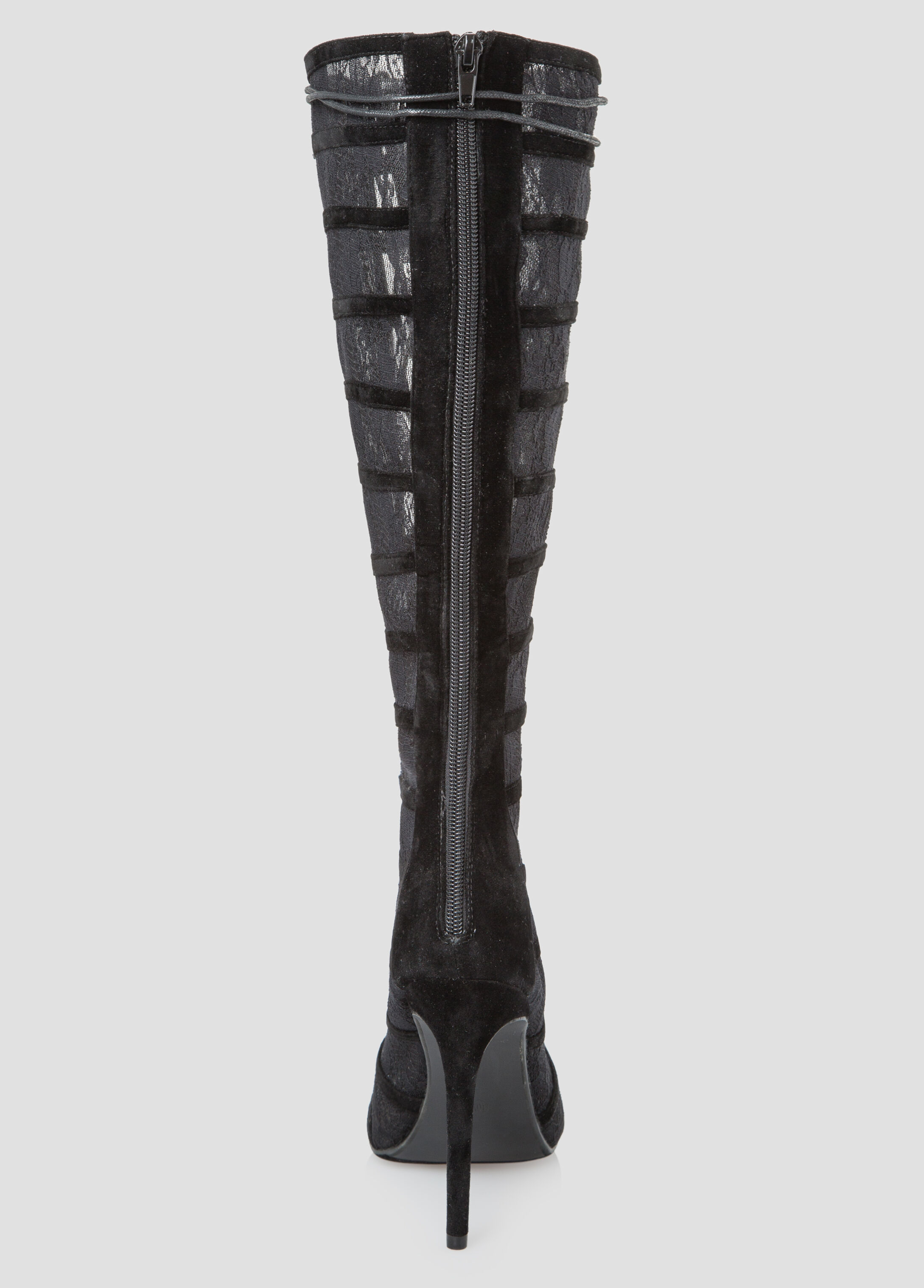 Lace High Heel Boots - Wide Width